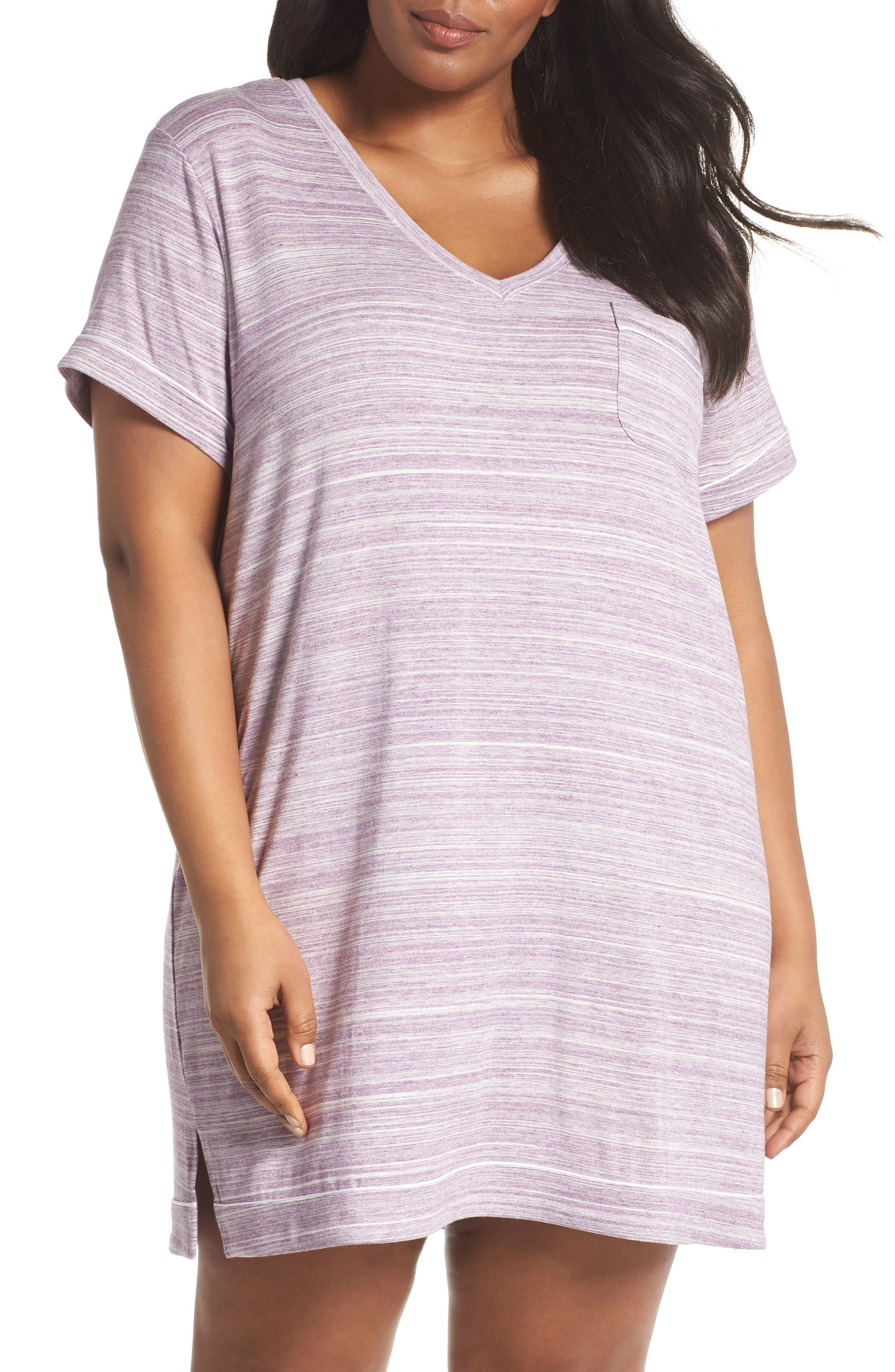 Moonlight V-Neck Nightshirt,                             Main thumbnail 1, color,                             Purple Spacedye