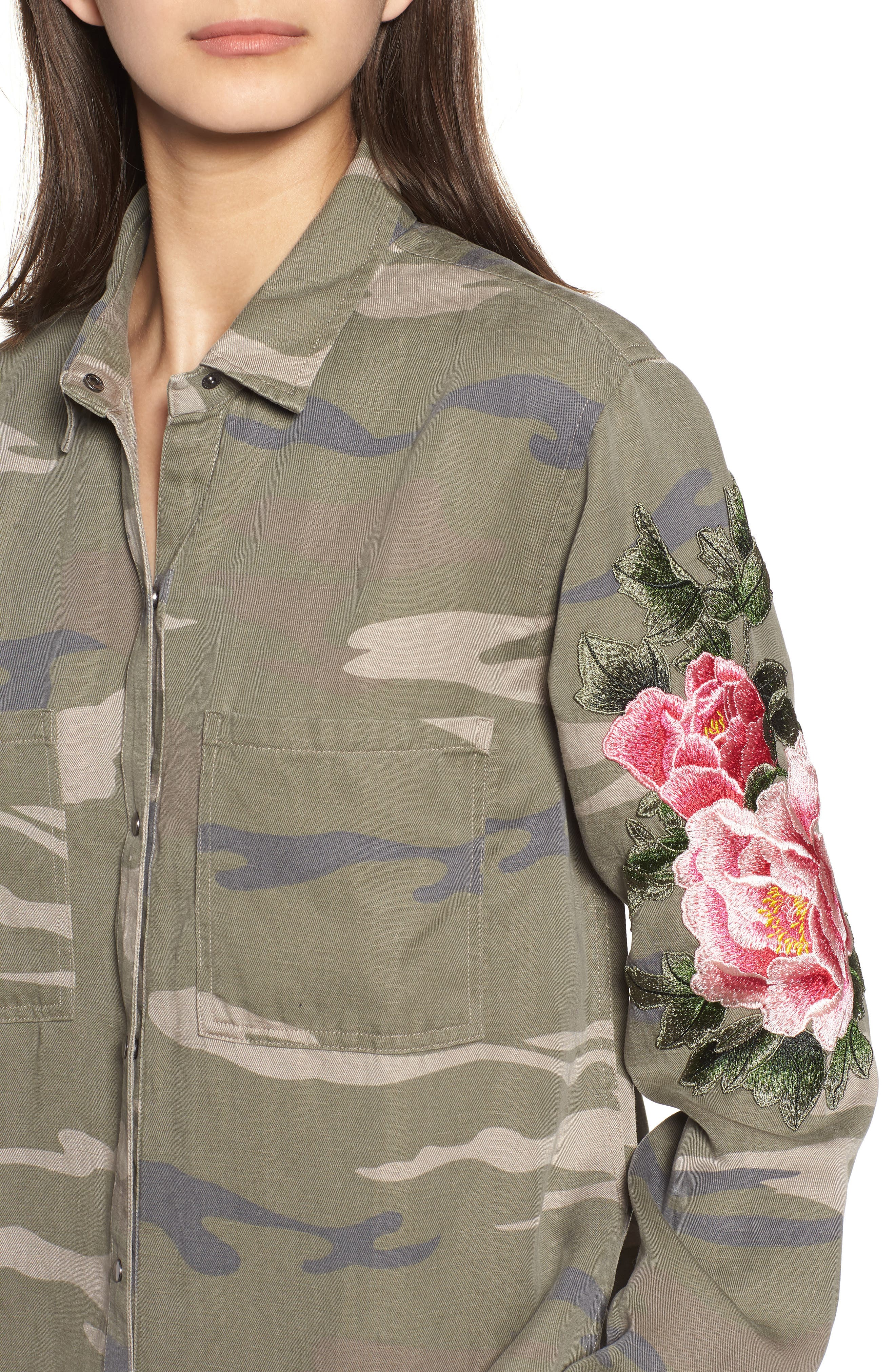 Marcel Embroidered Shirt,                             Alternate thumbnail 4, color,                             Sage Camo With Floral
