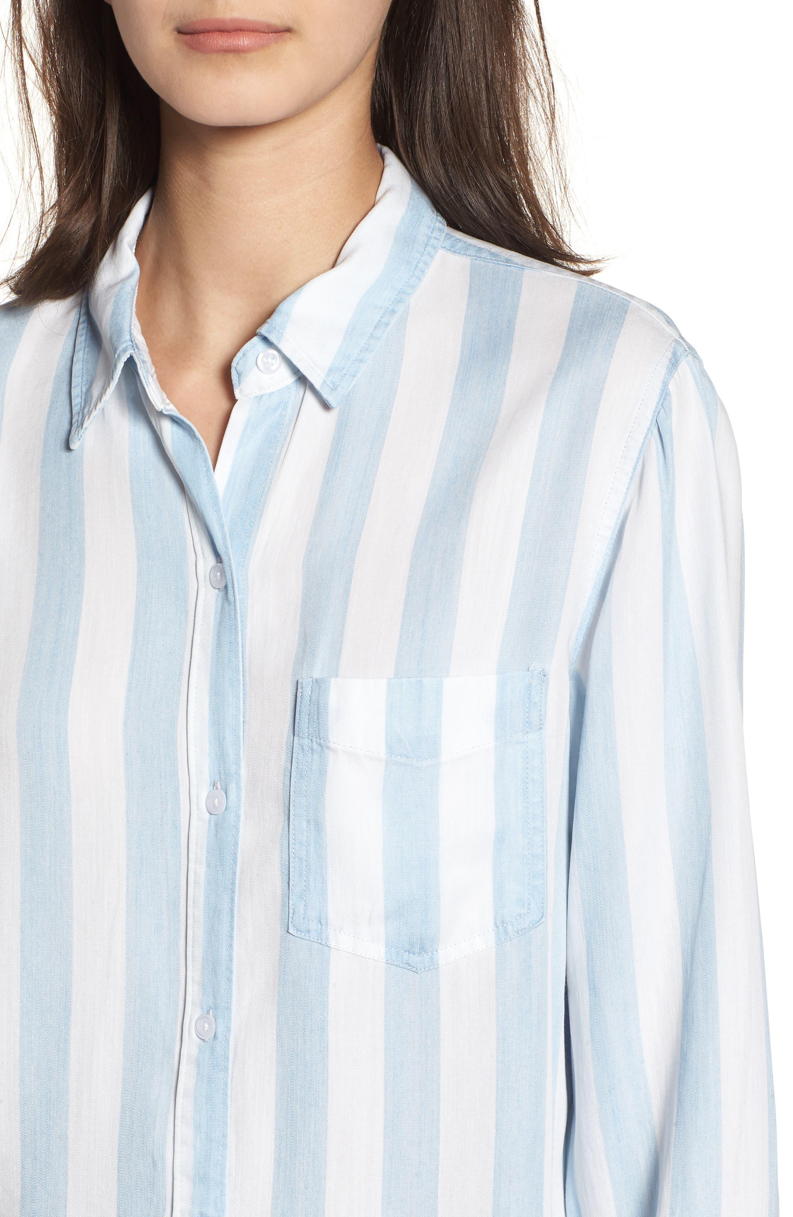 Ingrid Stripe Chambray Shirt,                             Alternate thumbnail 4, color,                             Block Stripe