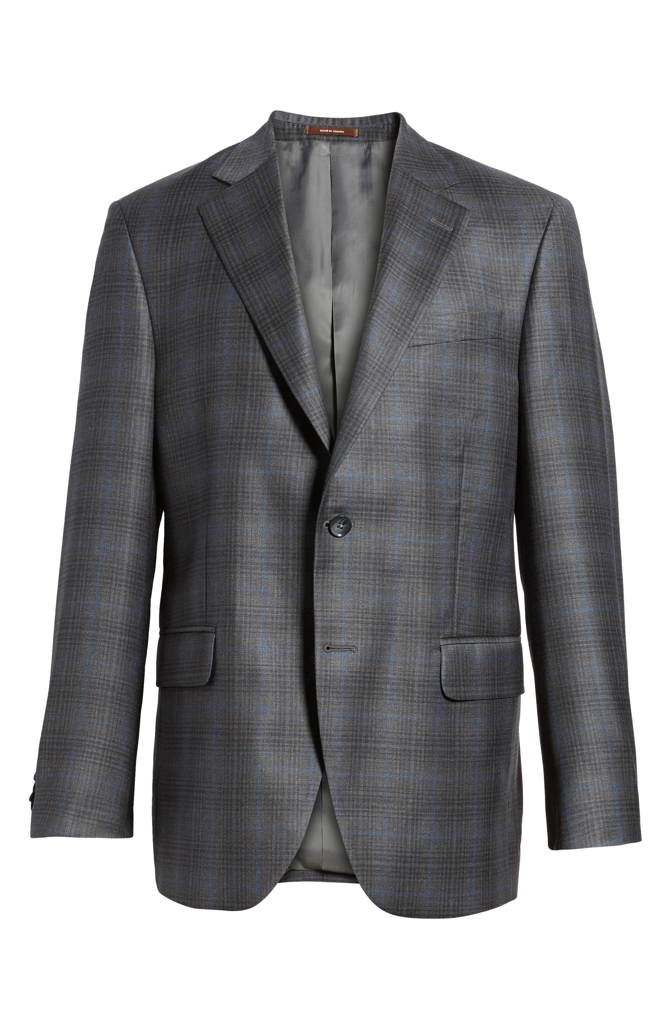Classic Fit Plaid Wool Sport Coat,                             Alternate thumbnail 6, color,                             Grey/Blue