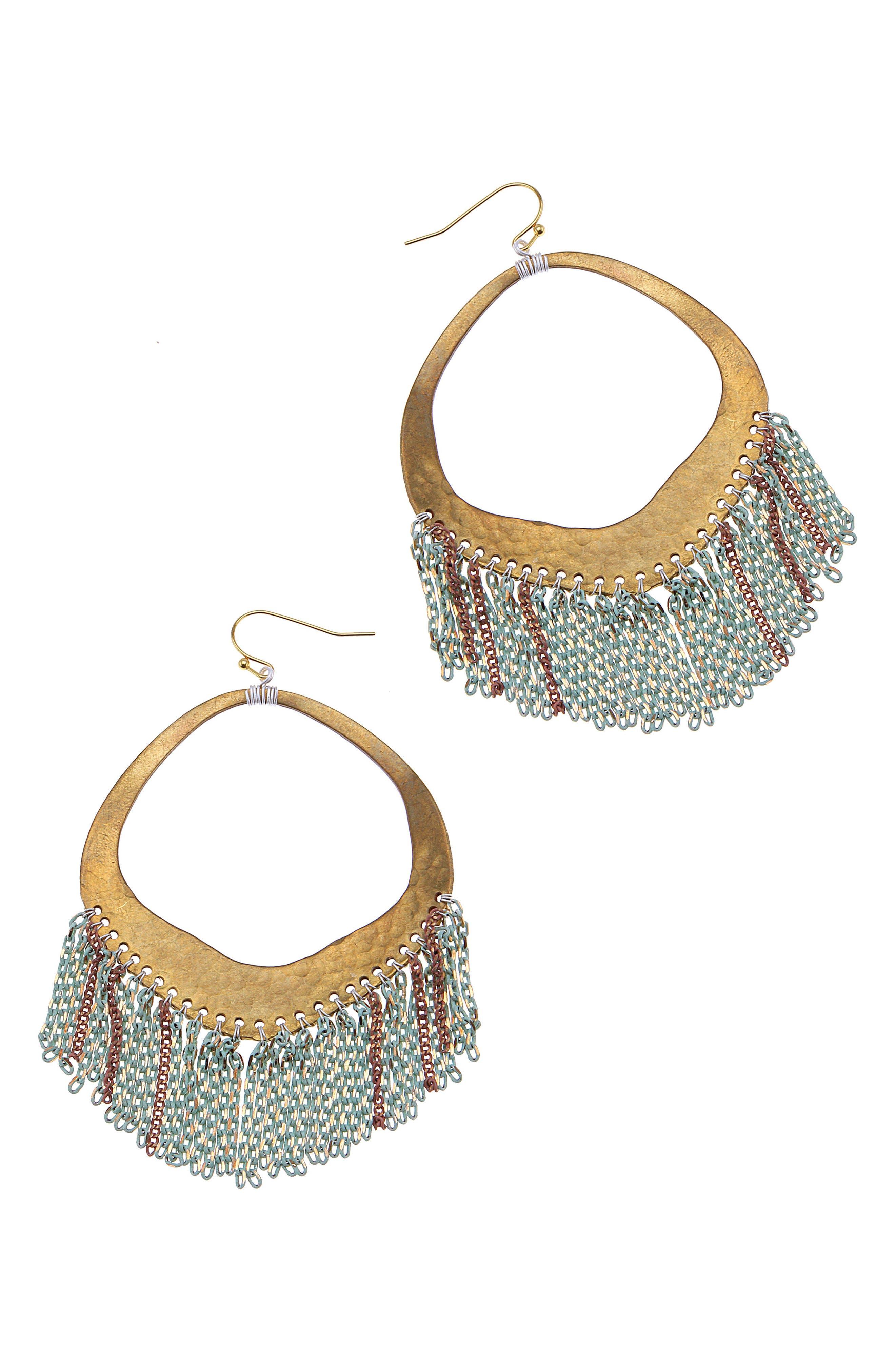 Chain Fringe Hoop Earrings,                         Main,                         color, Aqua