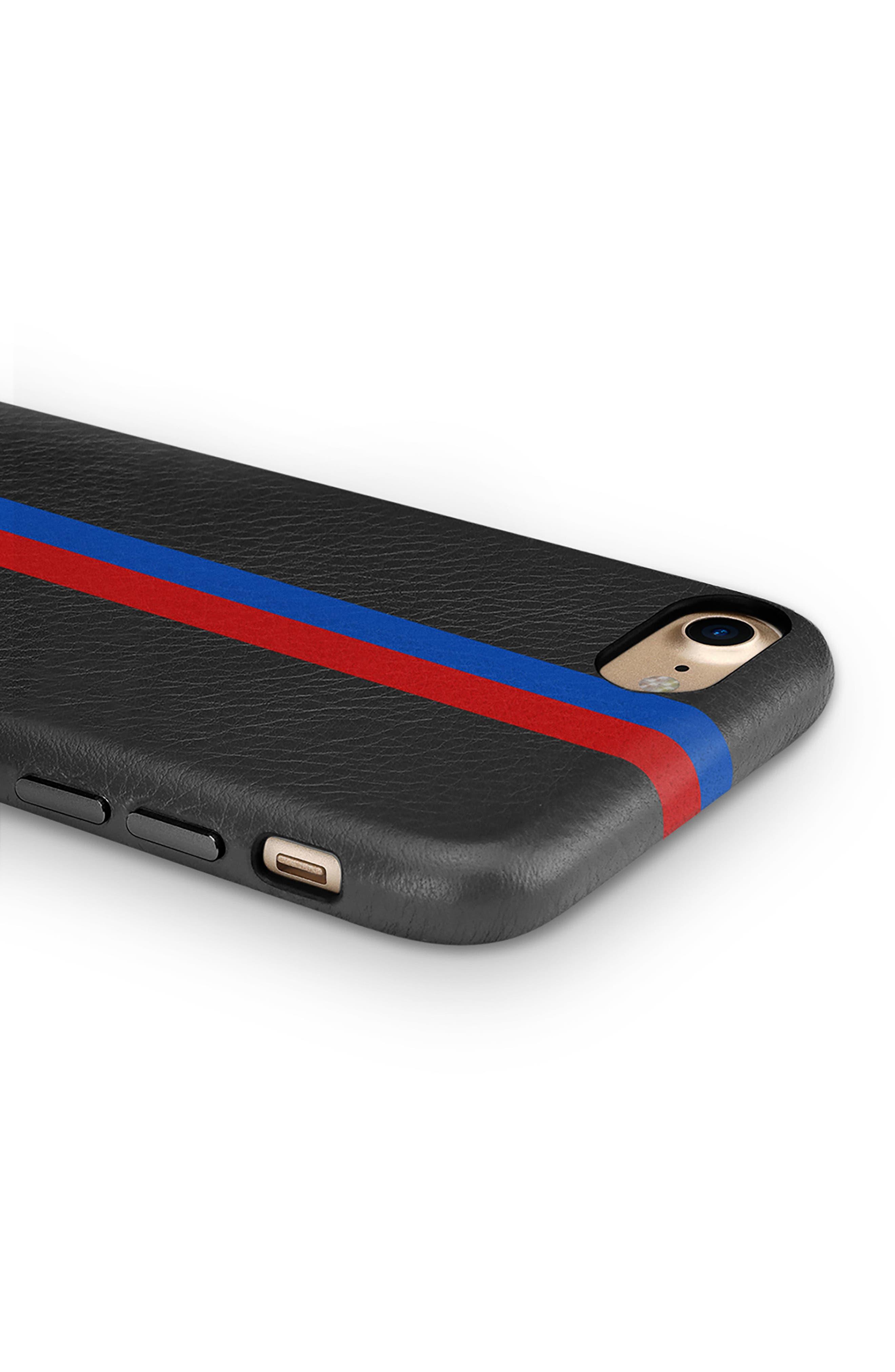 x Clare V. Stripe Leather iPhone 7/8 & 7/8 Plus Case,                             Alternate thumbnail 3, color,                             Black Multi