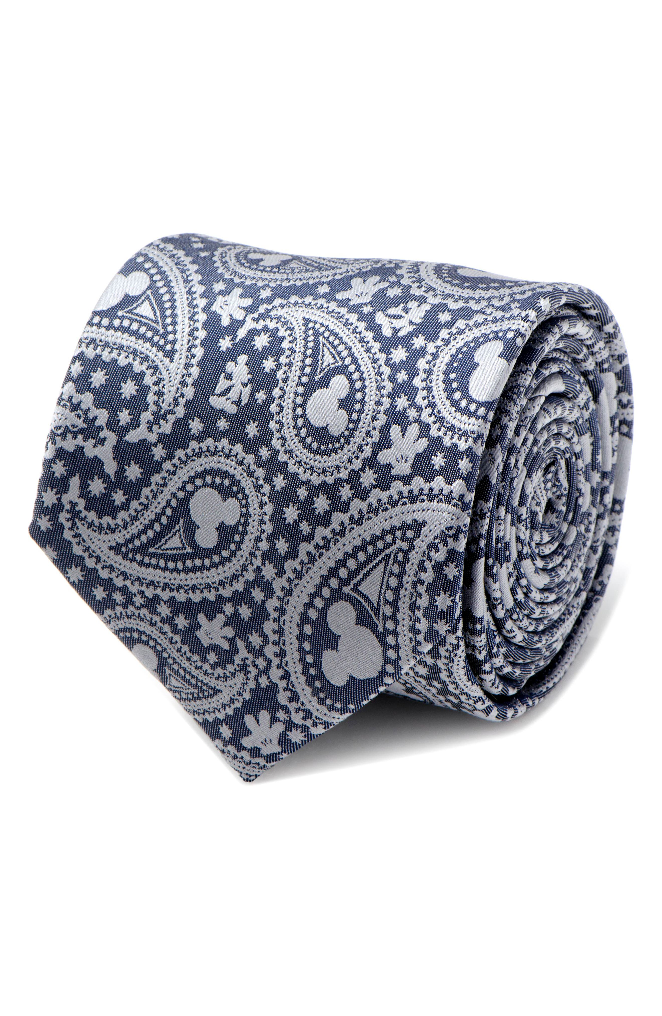 Mickey Mouse Paisley Silk Tie,                             Alternate thumbnail 4, color,                             Blue/ Grey