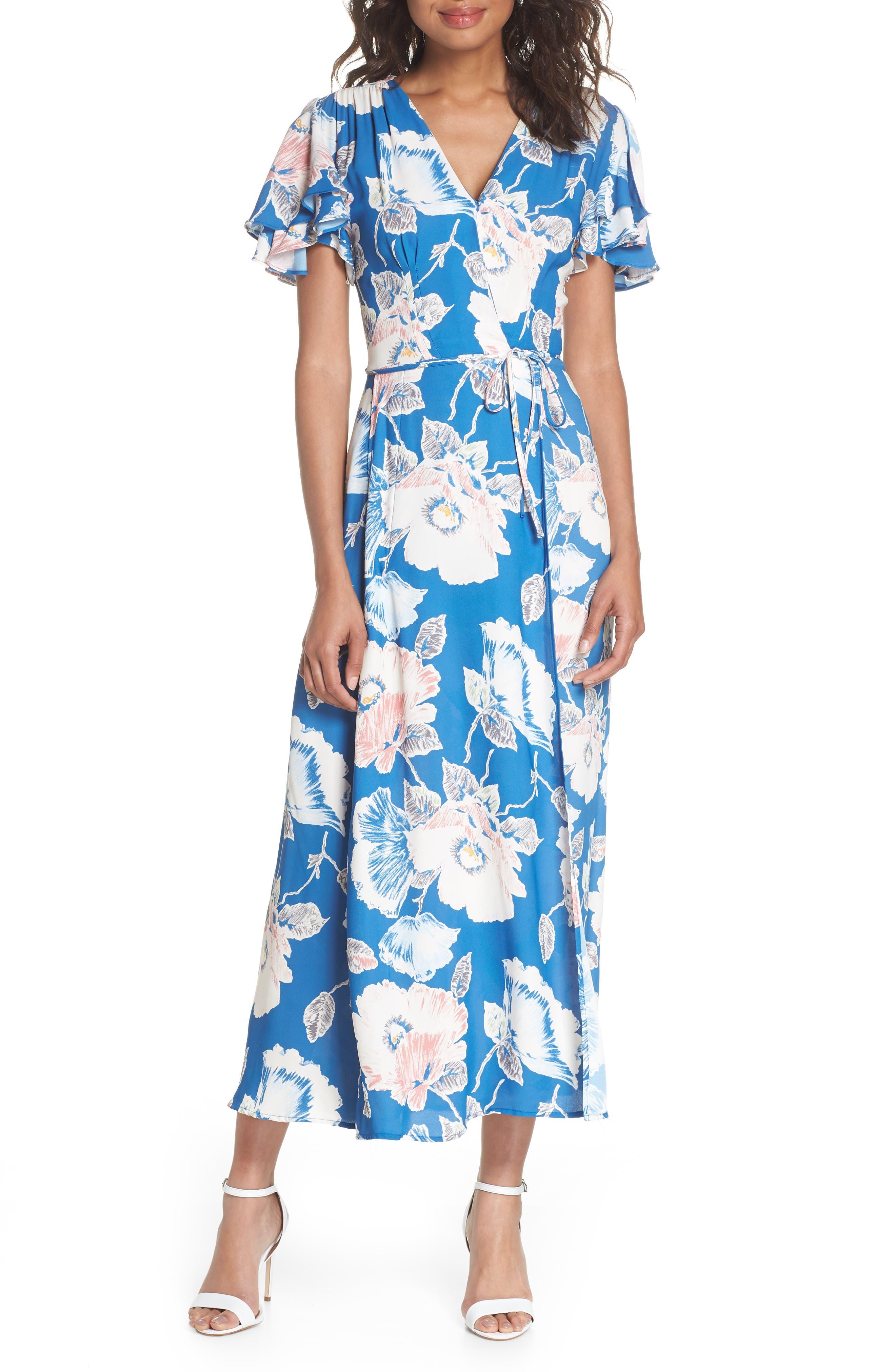 Cari Faux Wrap Crepe Dress,                         Main,                         color, Vintage Blue