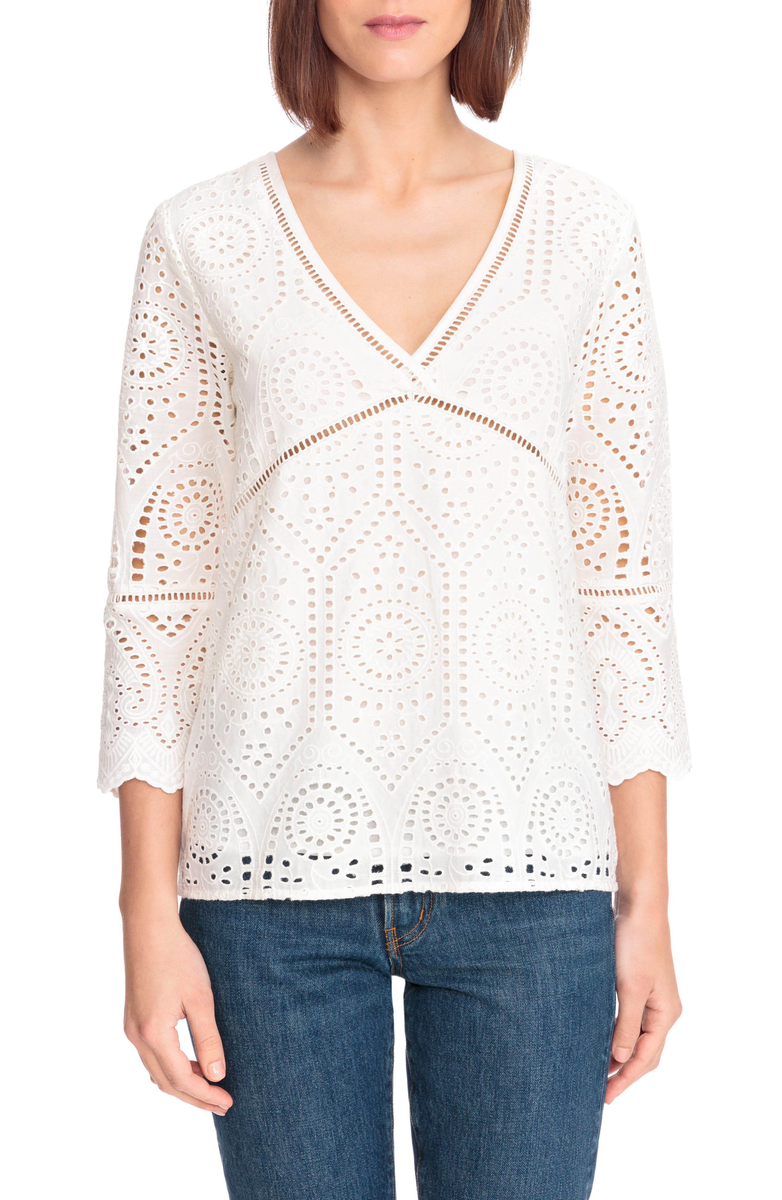 Andrea Cutwork Blouse,                         Main,                         color, Off White