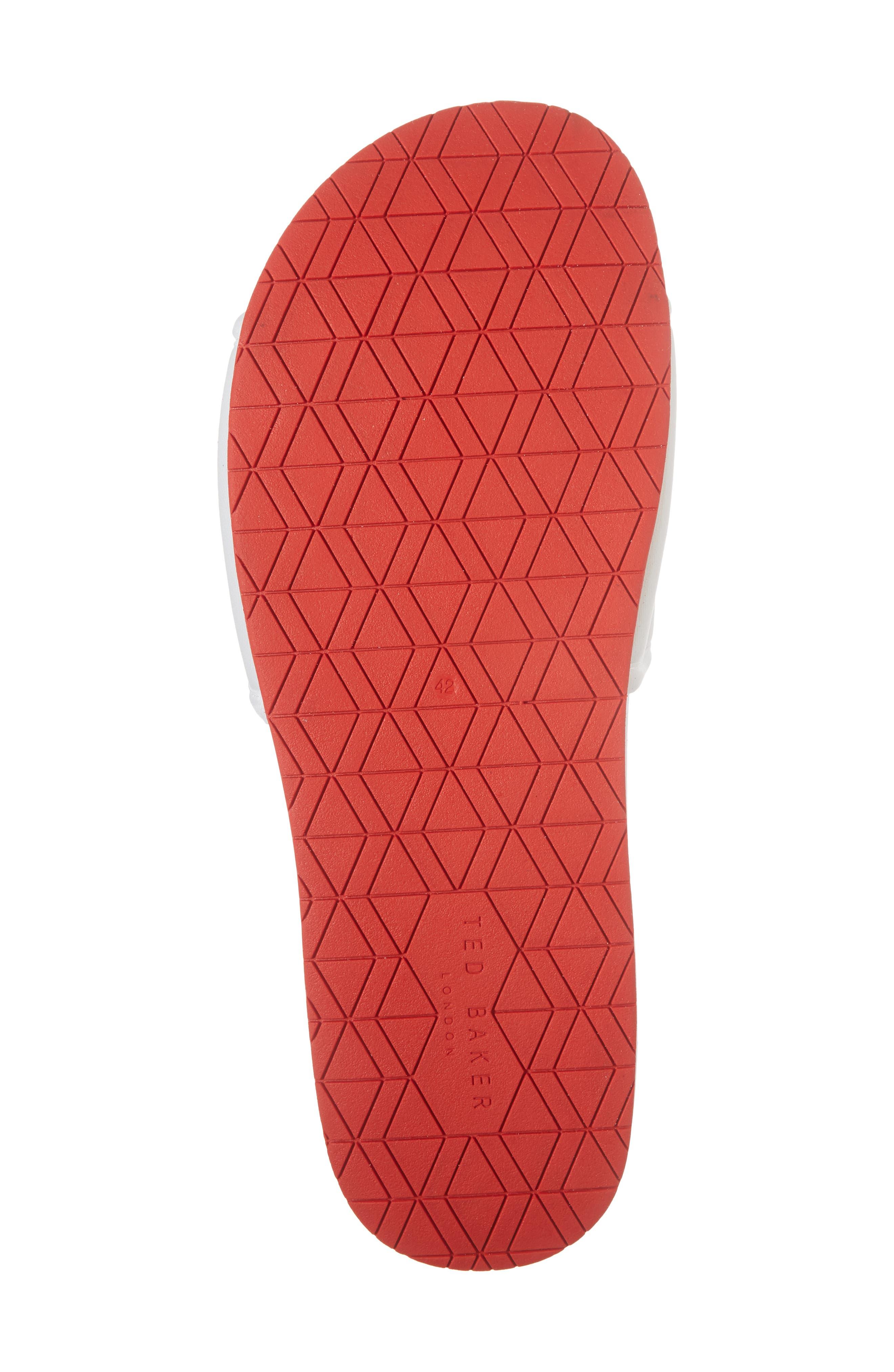 Sauldi 2 Slide Sandal,                             Alternate thumbnail 6, color,                             White/ Red Textile