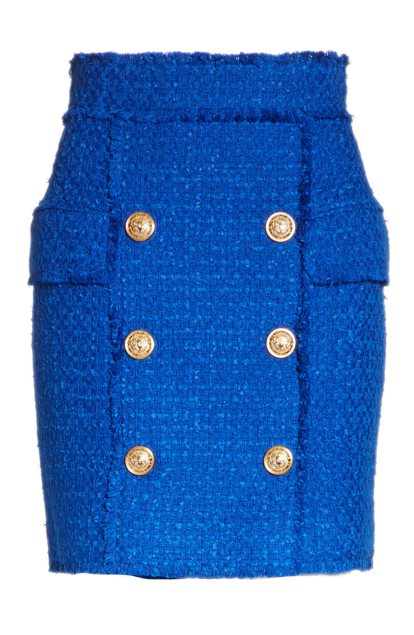 Button Detail Tweed Miniskirt,                             Alternate thumbnail 6, color,                             Electric Blue