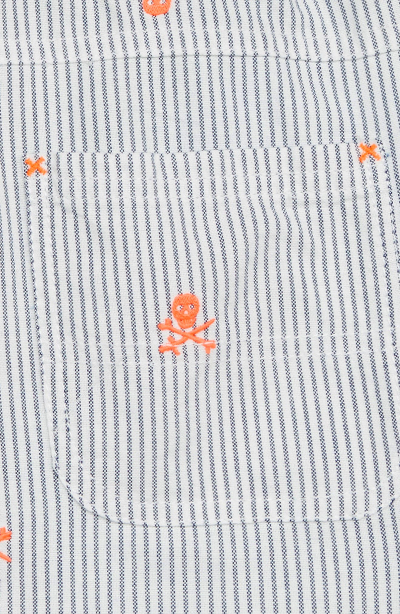 Rib Waist Shorts,                             Alternate thumbnail 2, color,                             Beacon Blue/ Ecru Skulls