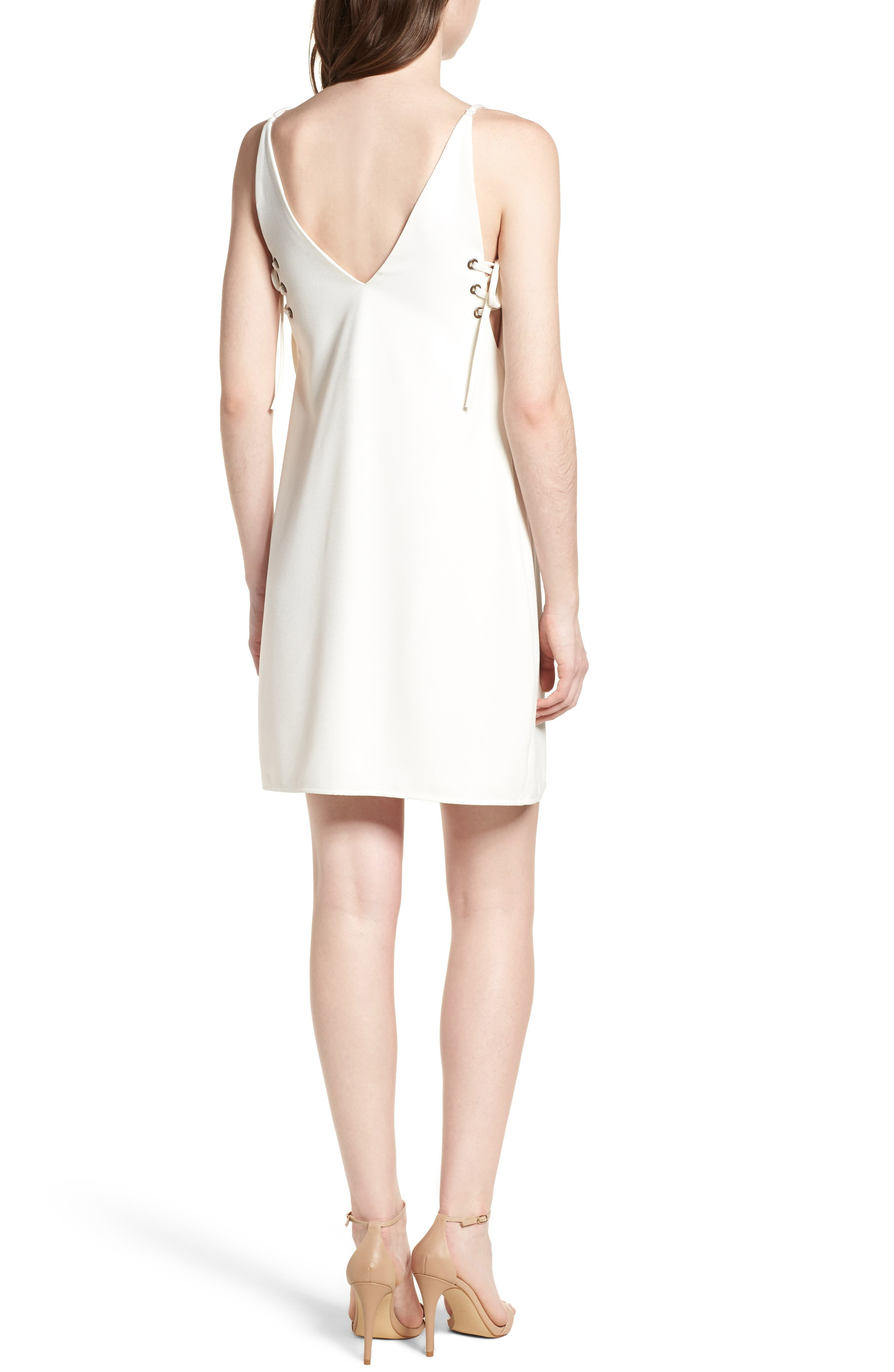 Bishop + Young Ana Lace-Up Shift Dress,                             Alternate thumbnail 2, color,                             White