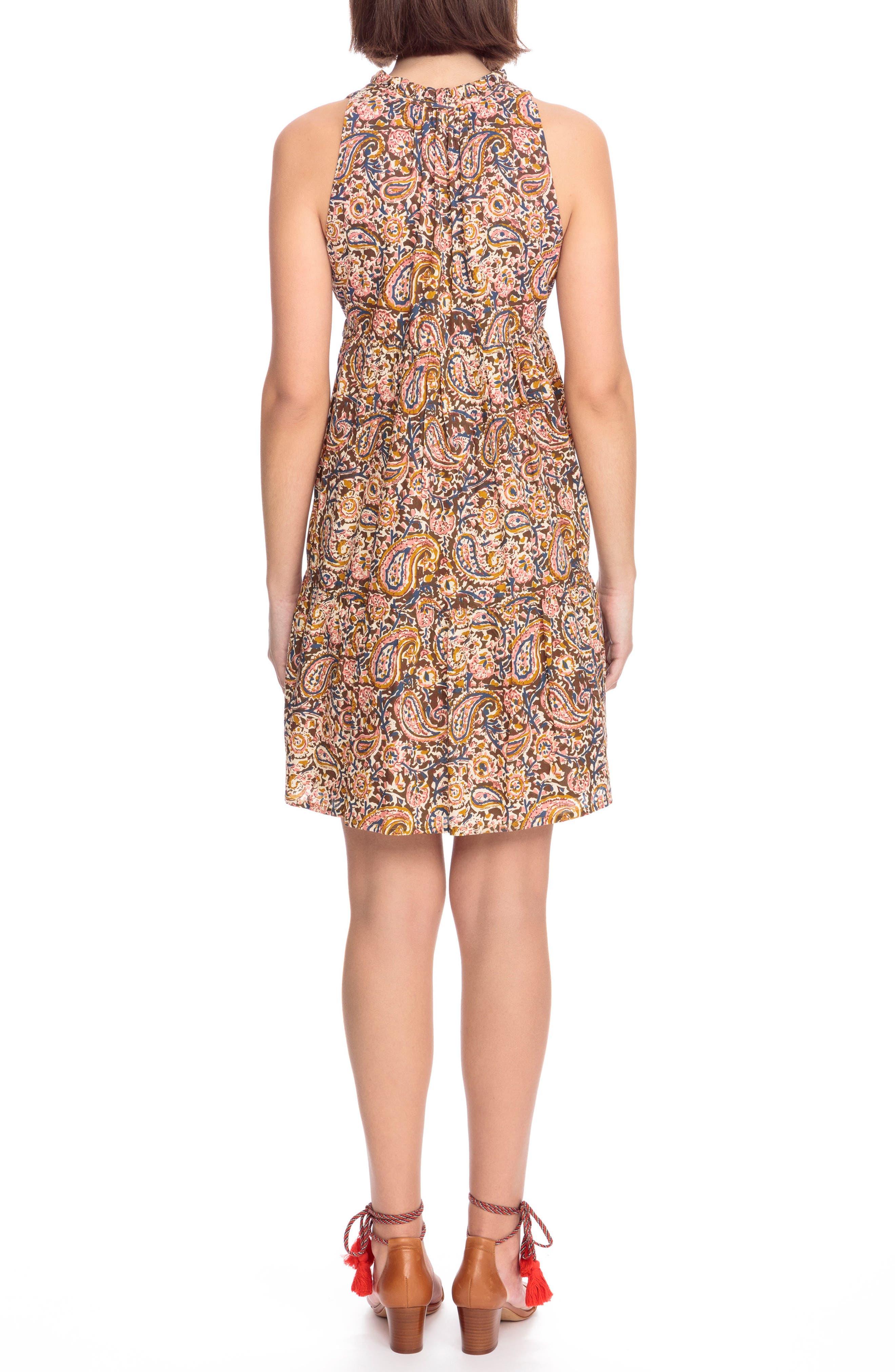 Arielle Paisley A-Line Dress,                             Alternate thumbnail 3, color,                             Indian Cashmere Print