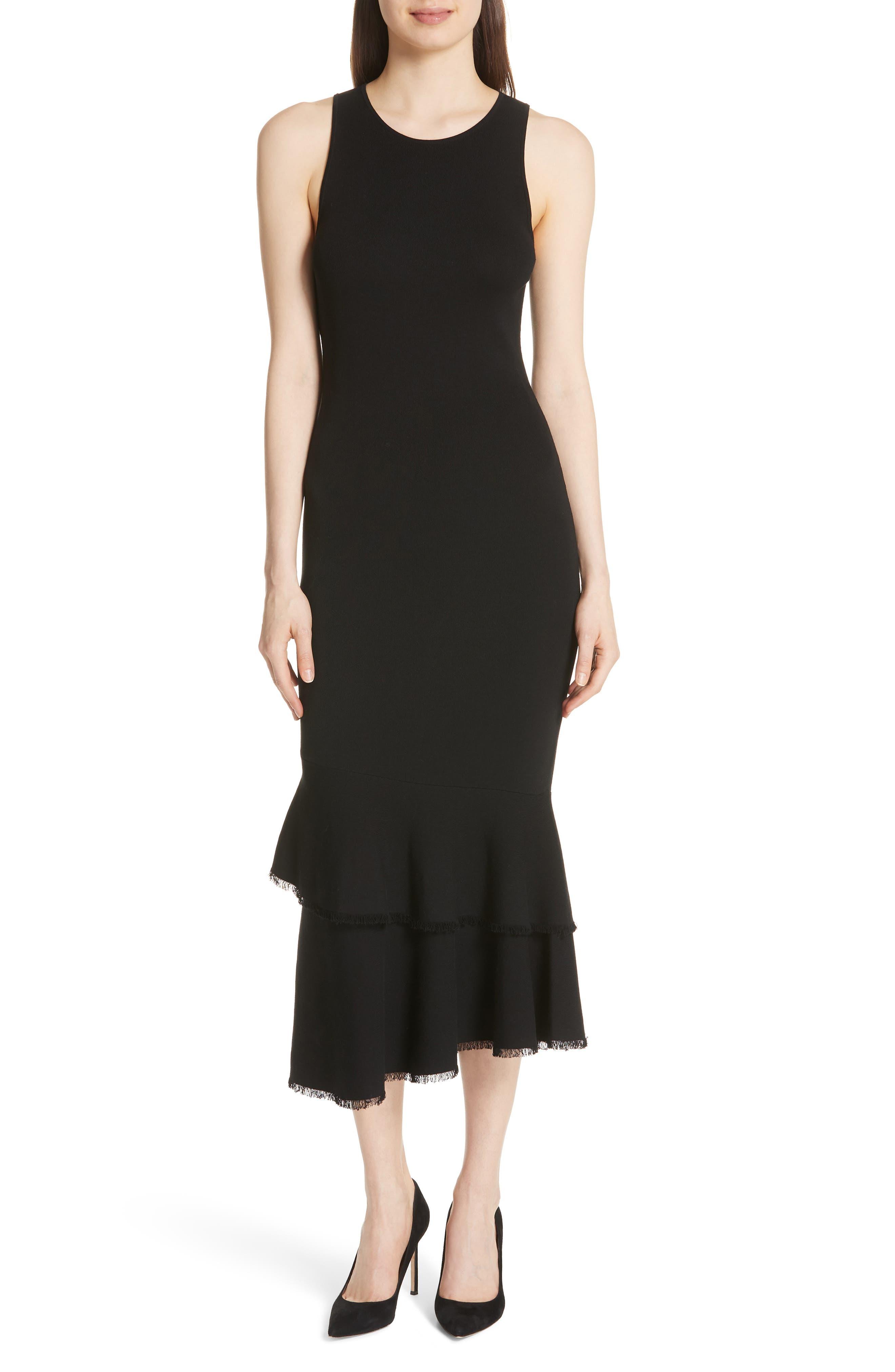 Nilimary Prosecco Midi Dress,                         Main,                         color, Black
