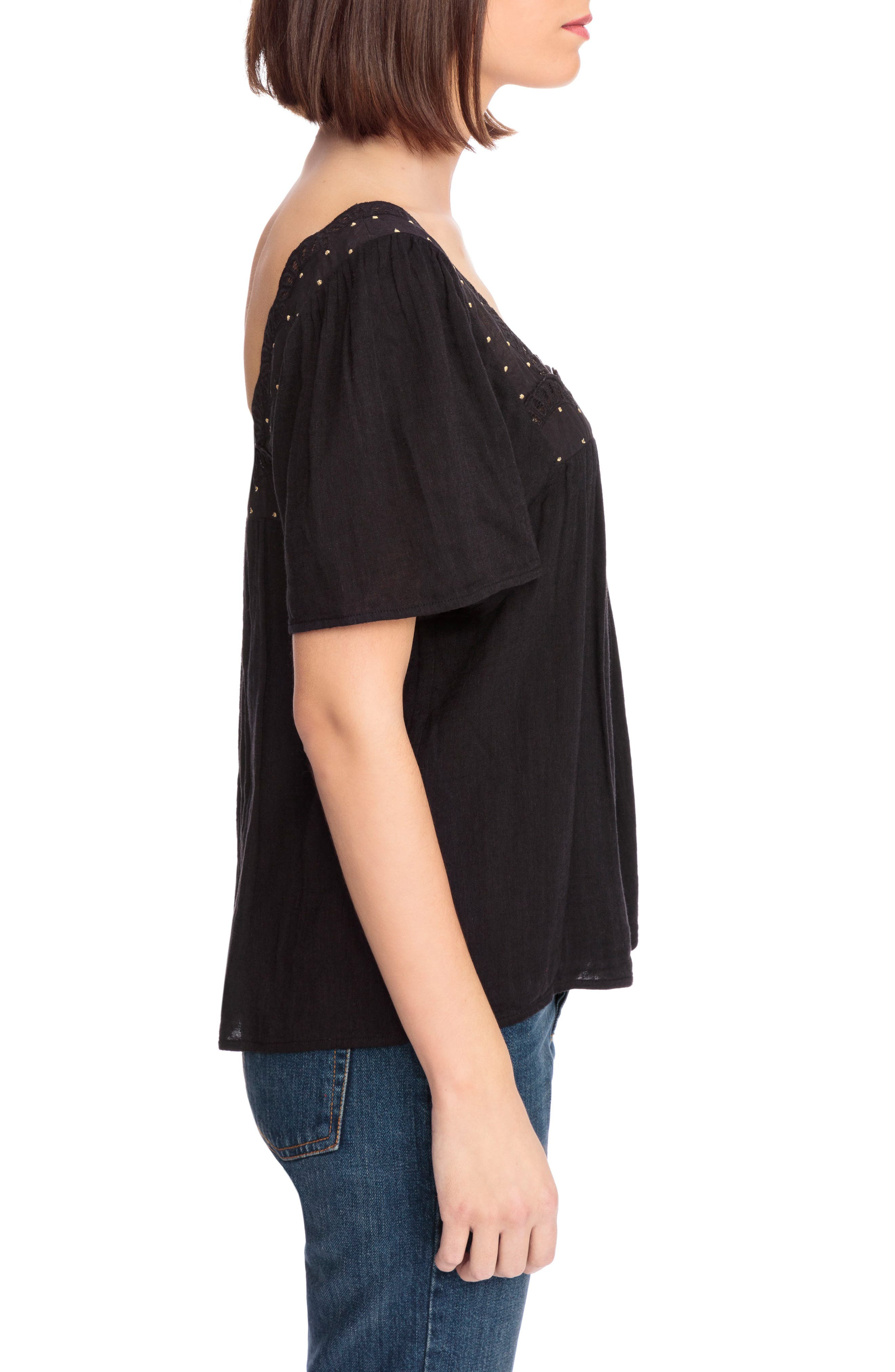 Bea Scalloped Top,                             Alternate thumbnail 4, color,                             Black