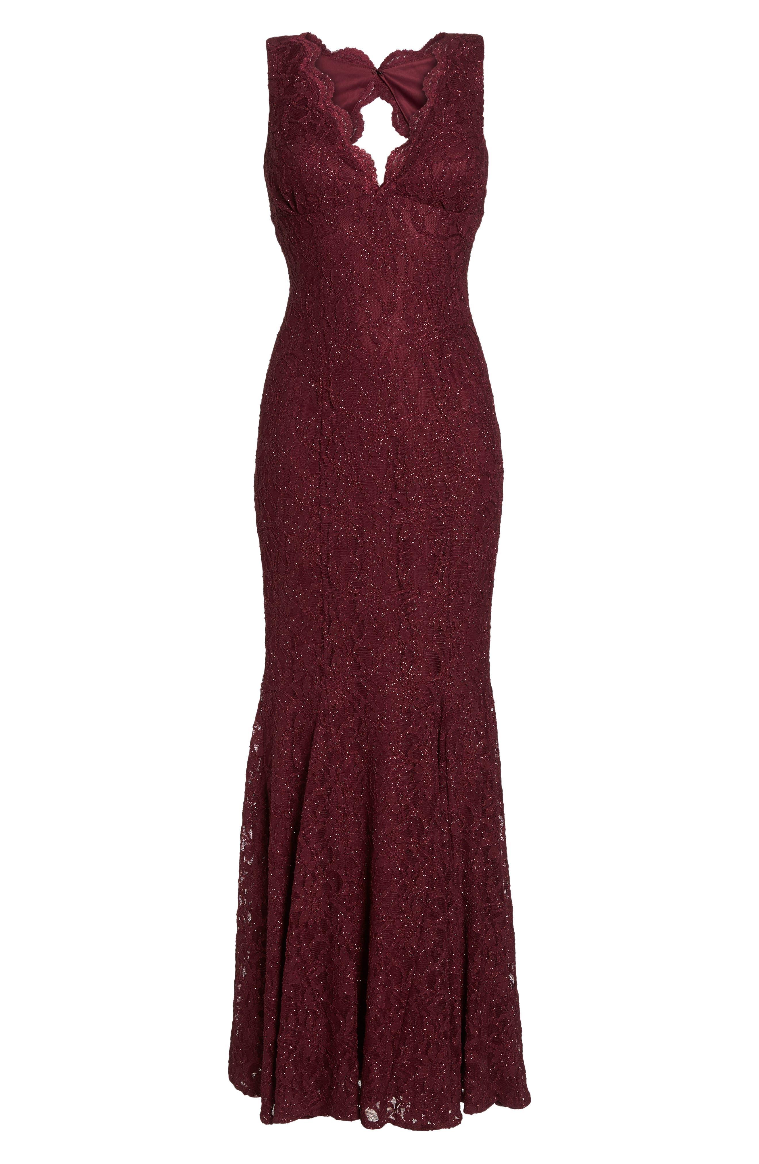 Glitter Lace Gown,                             Alternate thumbnail 6, color,                             Merlot