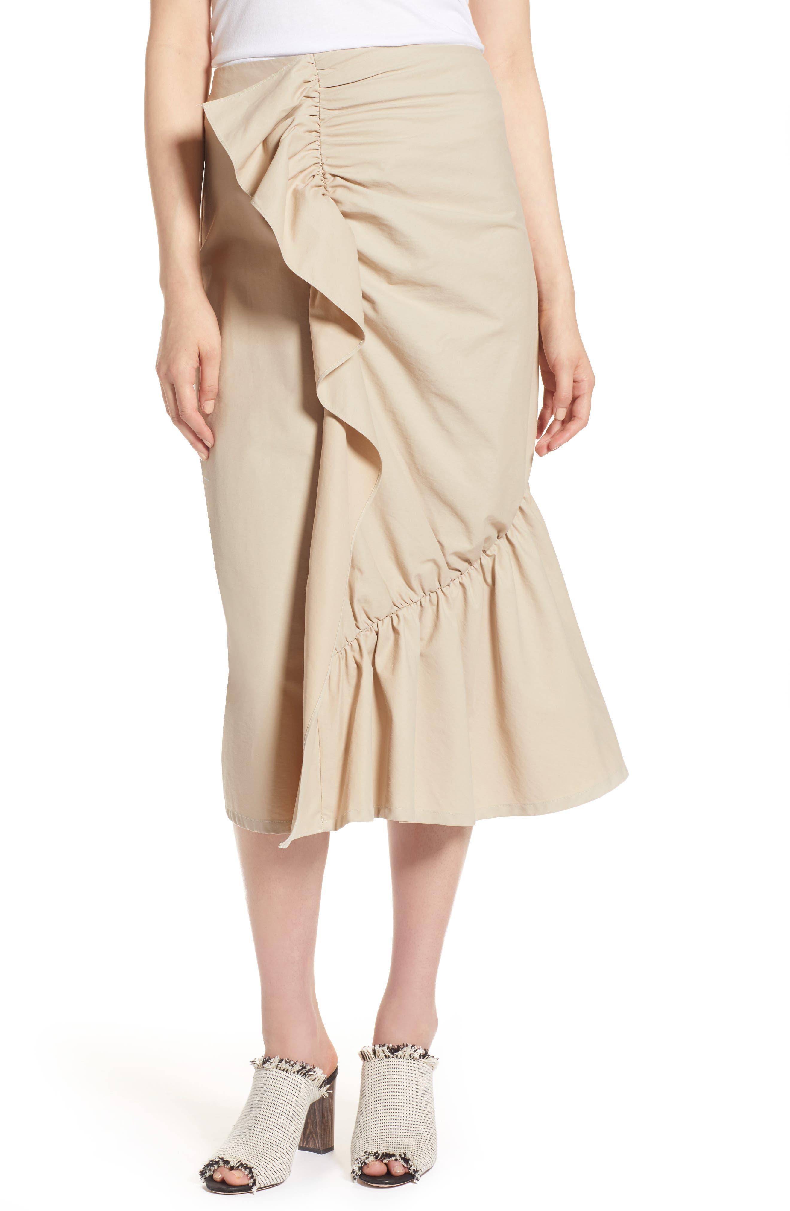 Ruffle Front Skirt,                             Main thumbnail 1, color,                             Tan Thread