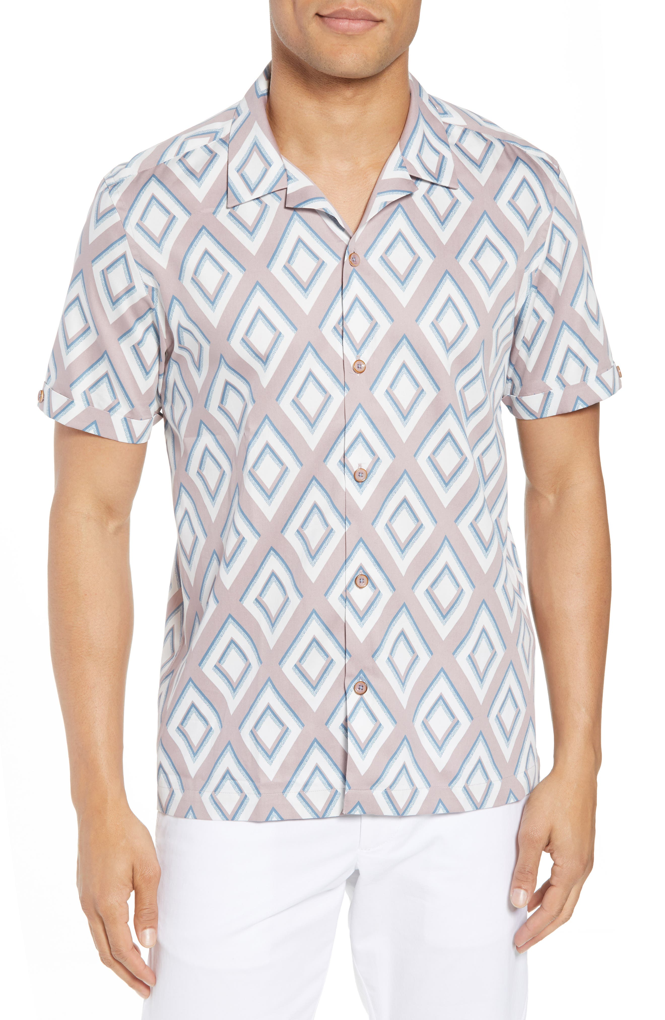Slim Fit Diamond Print Sport Shirt,                         Main,                         color, Light Pink