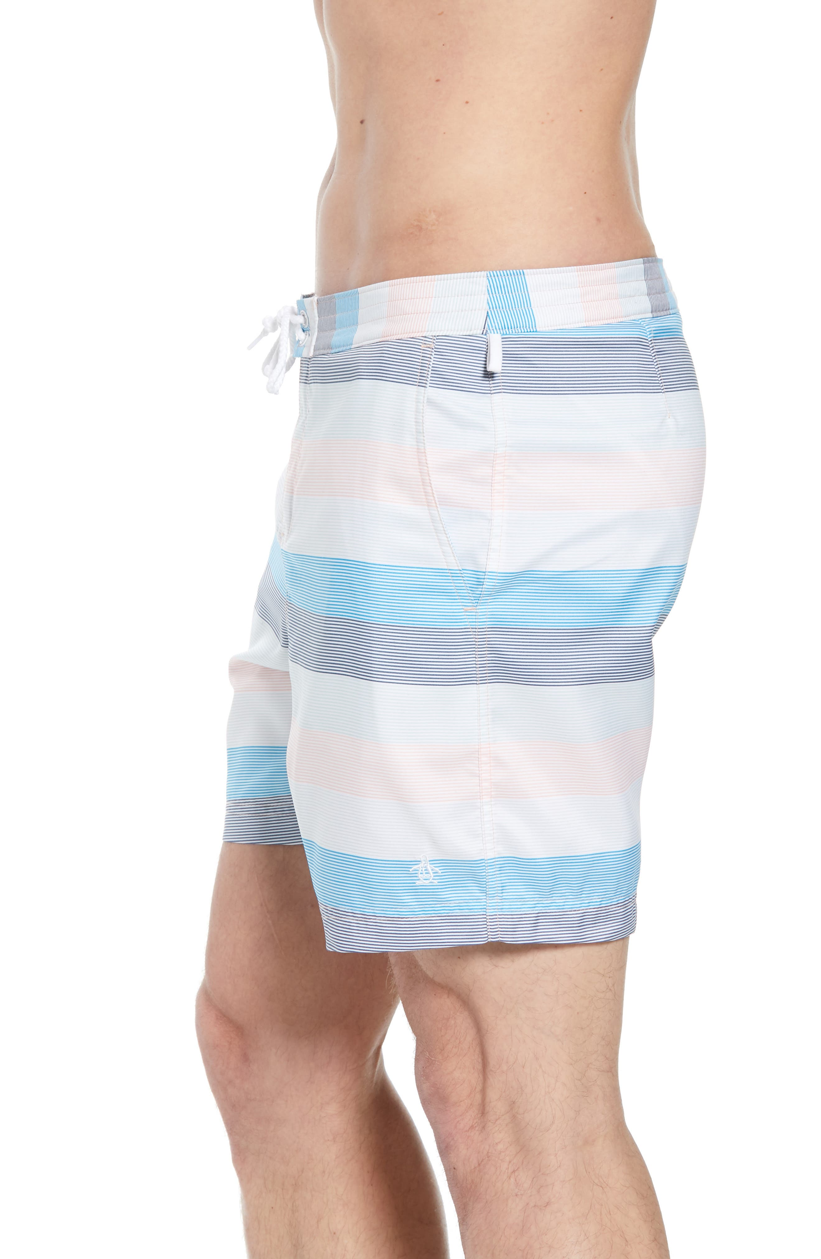Stripe Volley Board Shorts,                             Alternate thumbnail 3, color,                             Impatiens Pink