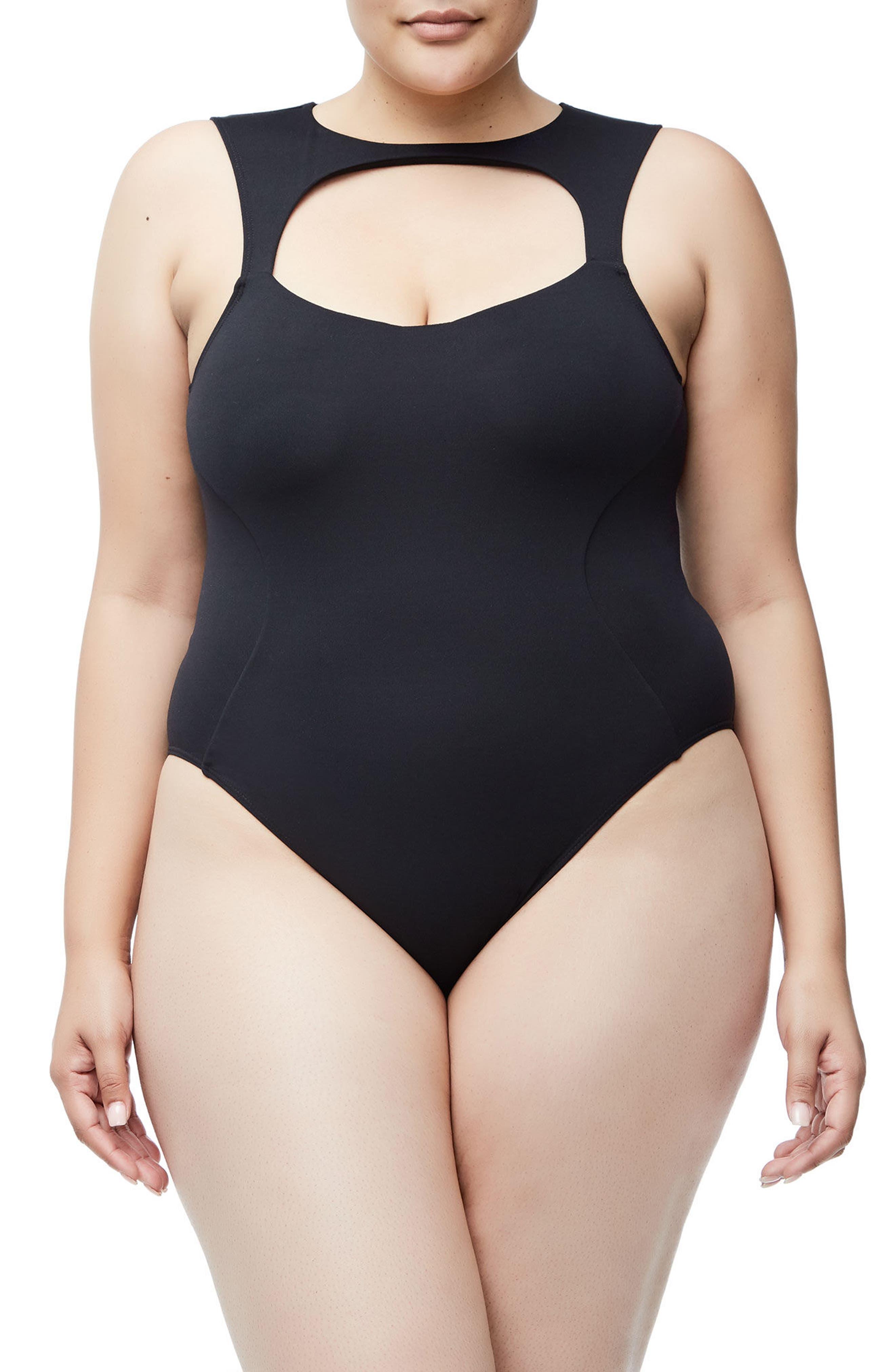 Good Body Sporty Cutout Bodysuit,                             Alternate thumbnail 6, color,                             Black001