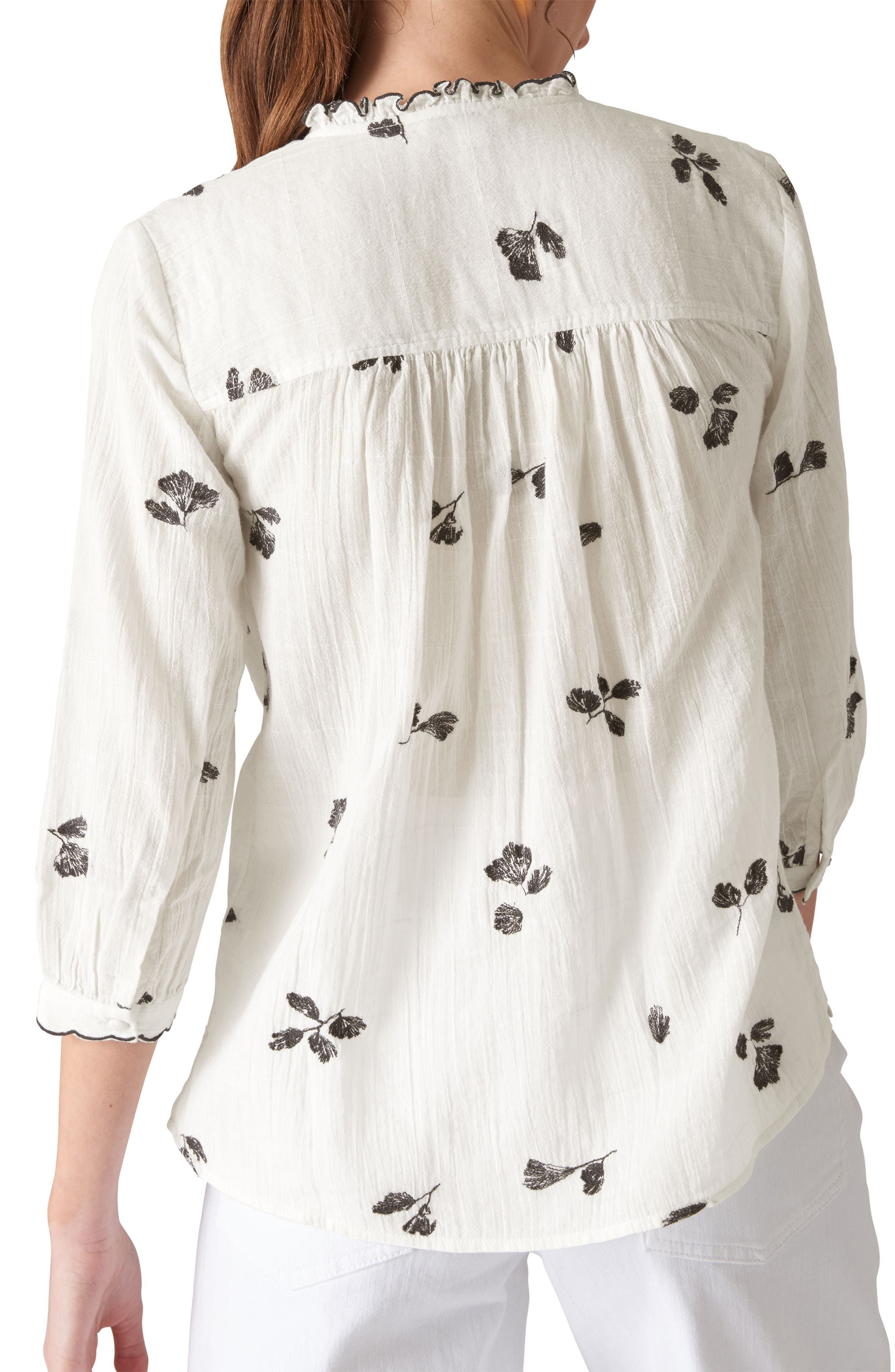 Gauzy Floral Button Front Shirt,                             Alternate thumbnail 2, color,                             Ivory