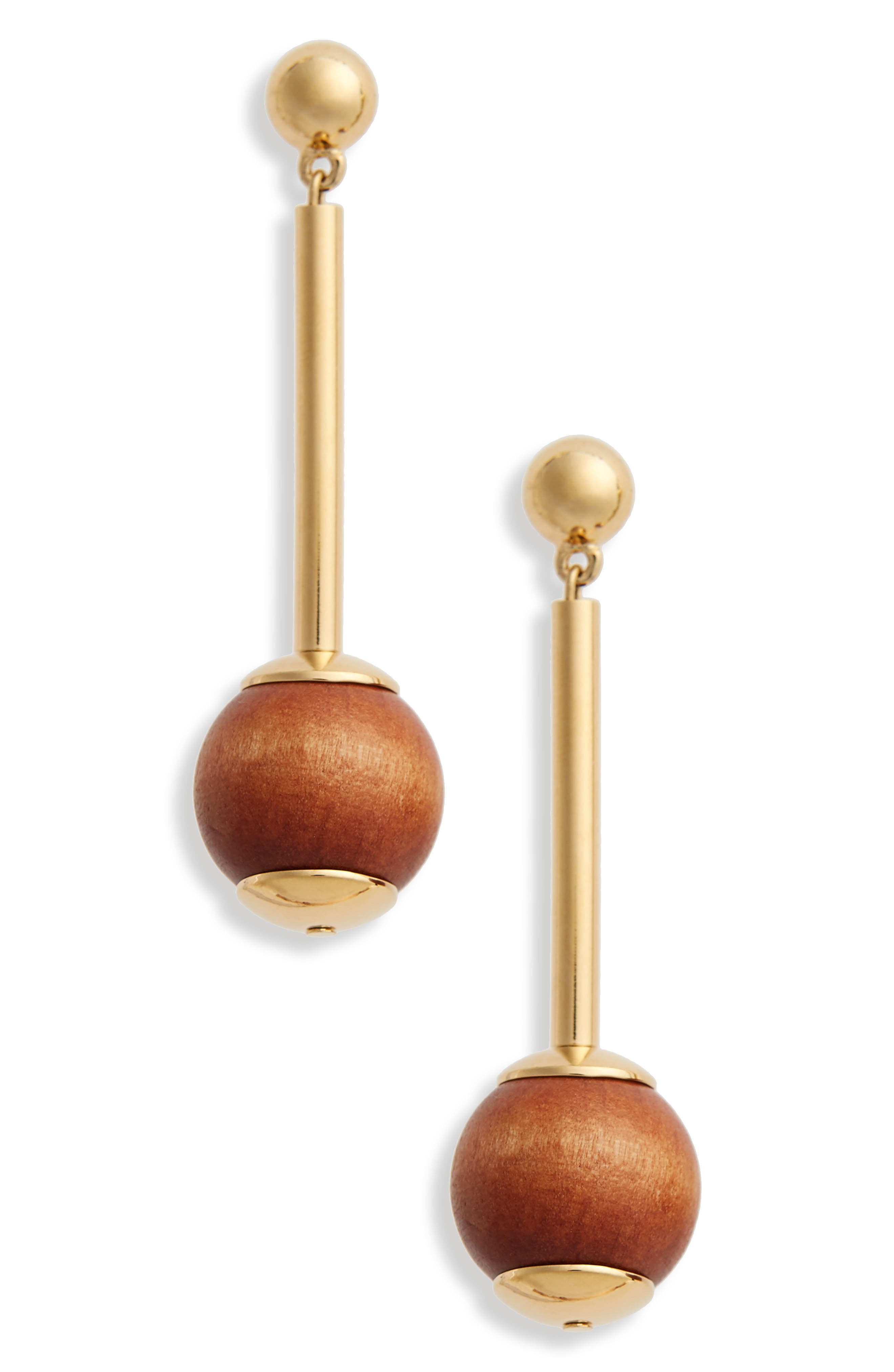 Pendulum Earrings,                             Main thumbnail 1, color,                             Wood