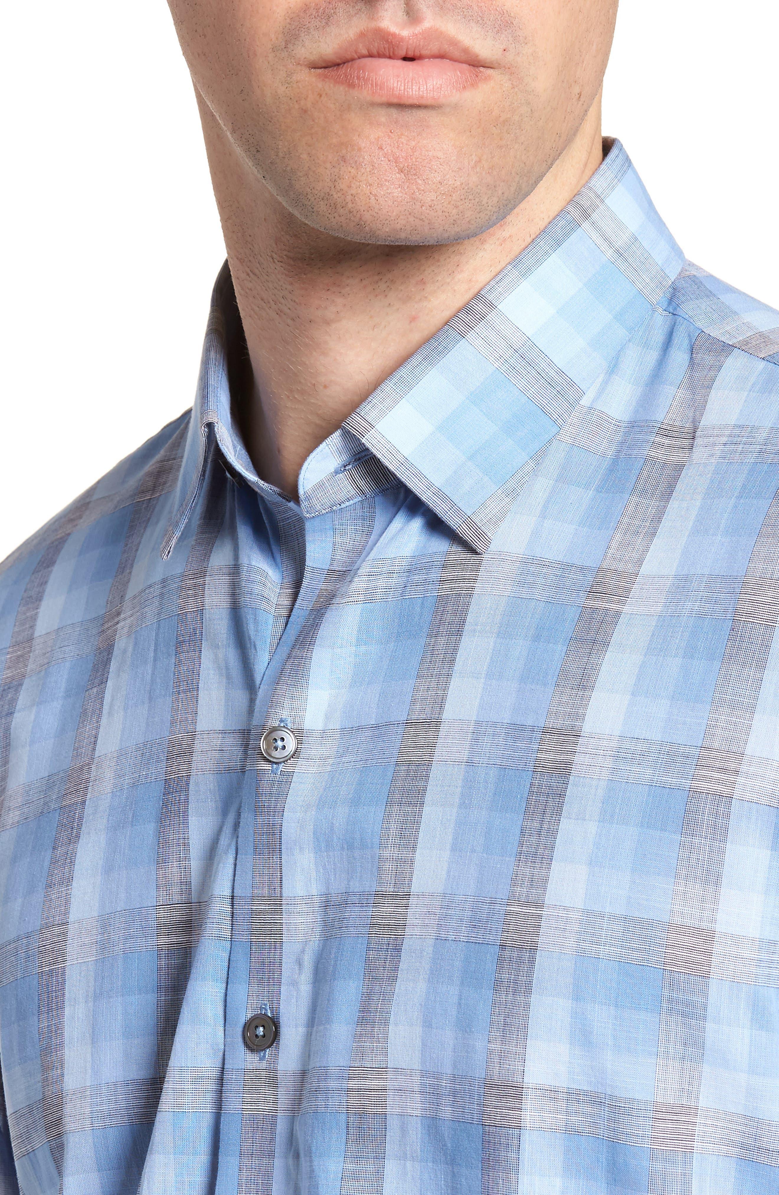 Asim Regular Fit Sport Shirt,                             Alternate thumbnail 4, color,                             Ocean