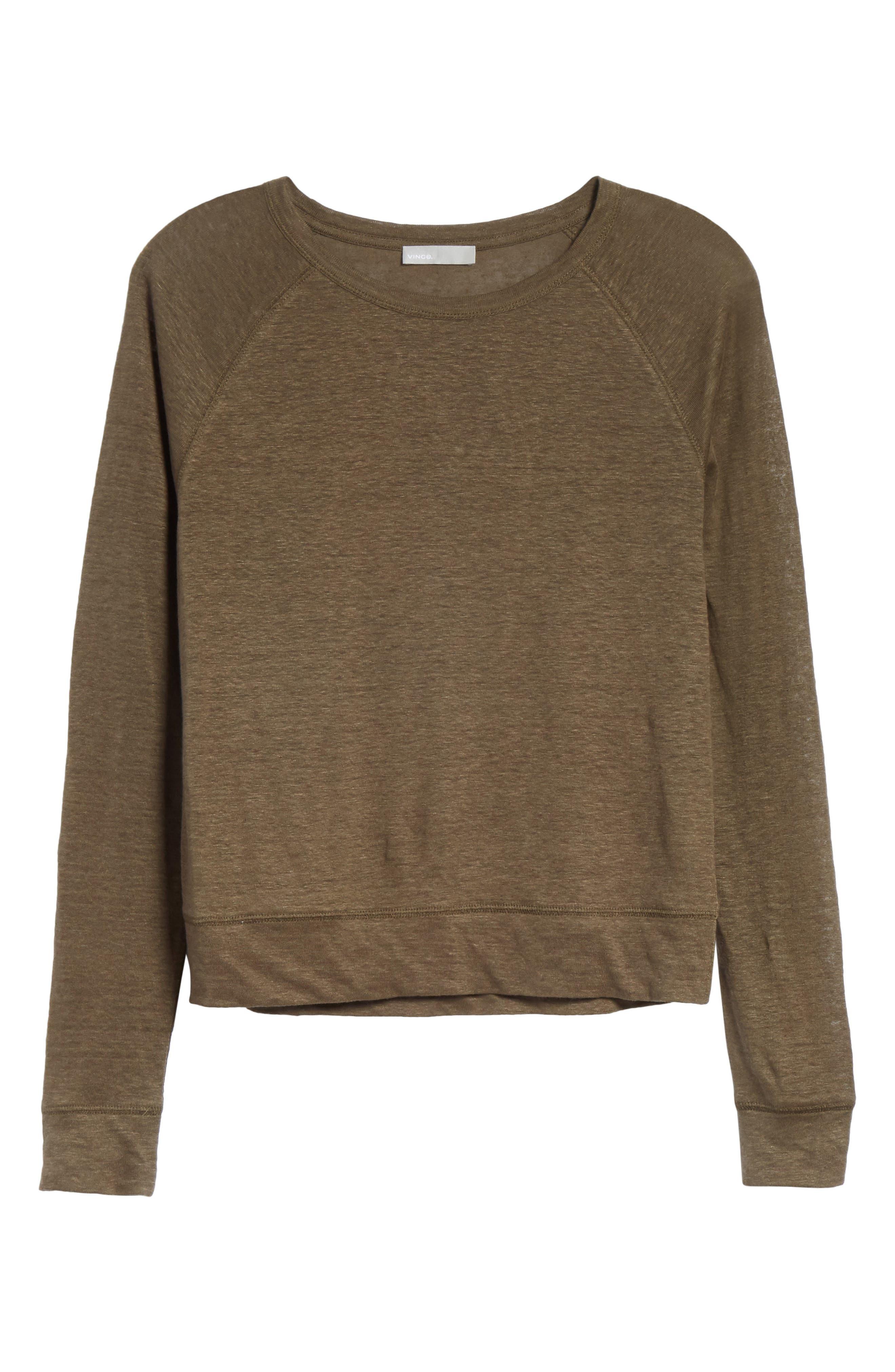 Linen Pullover,                             Alternate thumbnail 6, color,                             Bayleaf