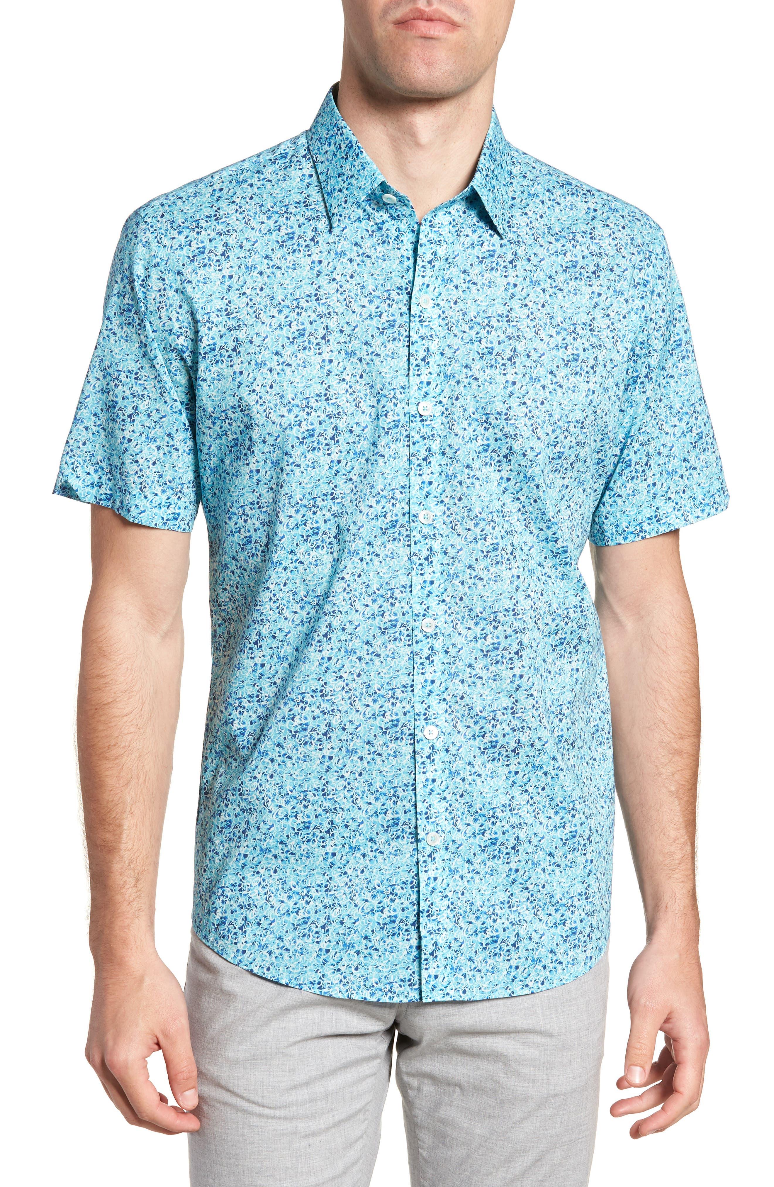Kincaid Scribble Print Sport Shirt,                         Main,                         color, Aqua