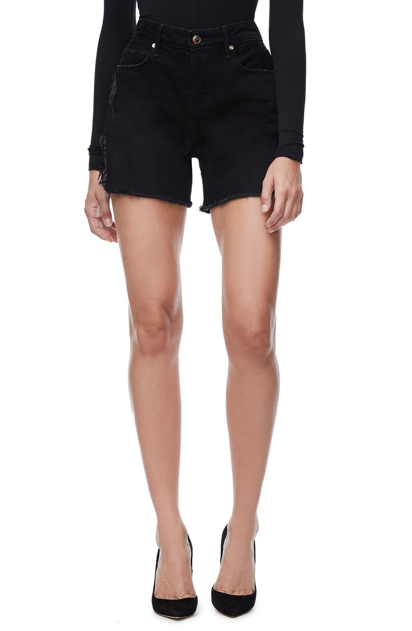 Good American Bombshell High Waist Cutoff Denim Shorts (Black 019) (Regular & Plus Size)