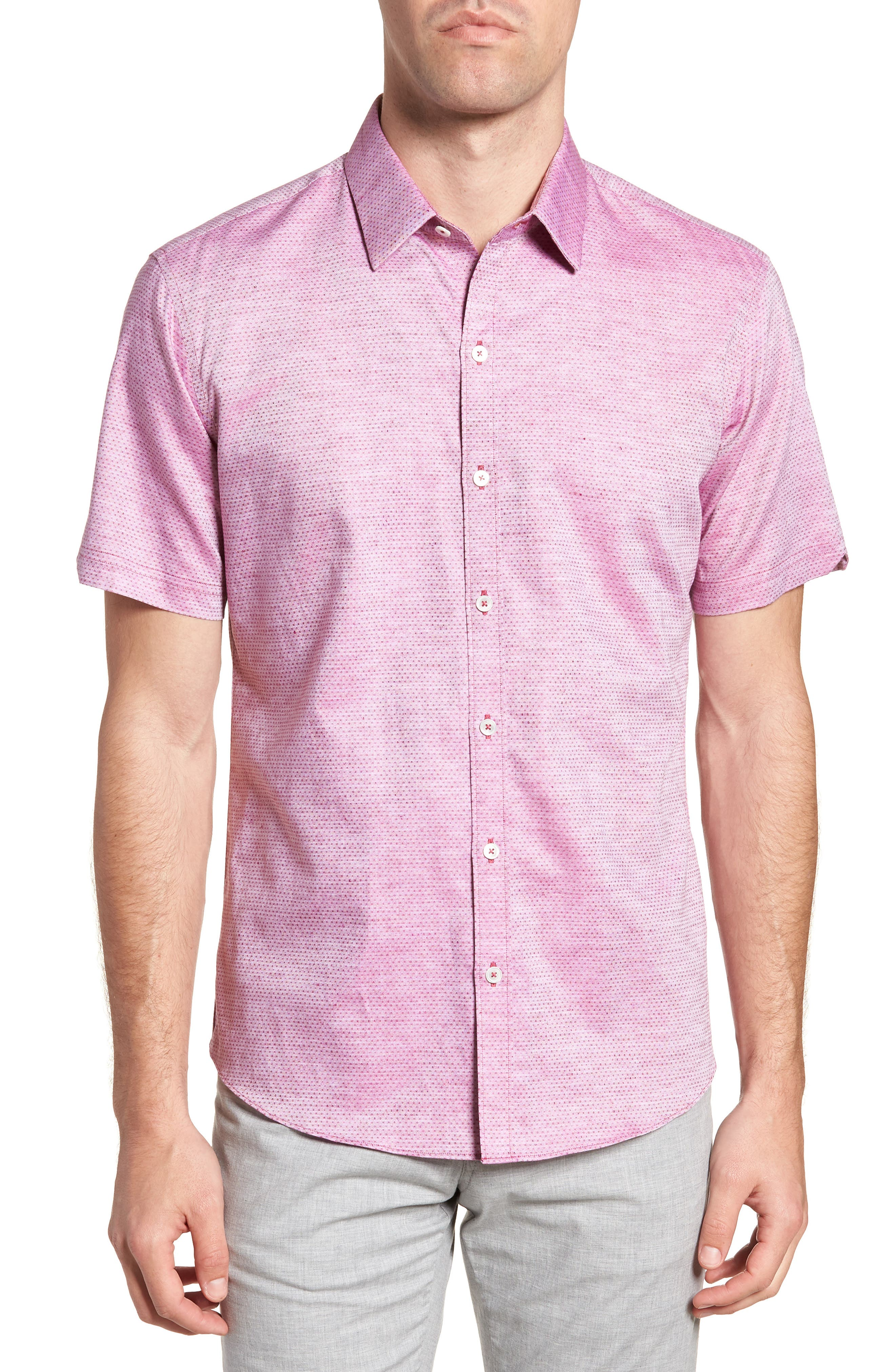 Wilcox Regular Fit Dobby Sport Shirt,                         Main,                         color, Pink