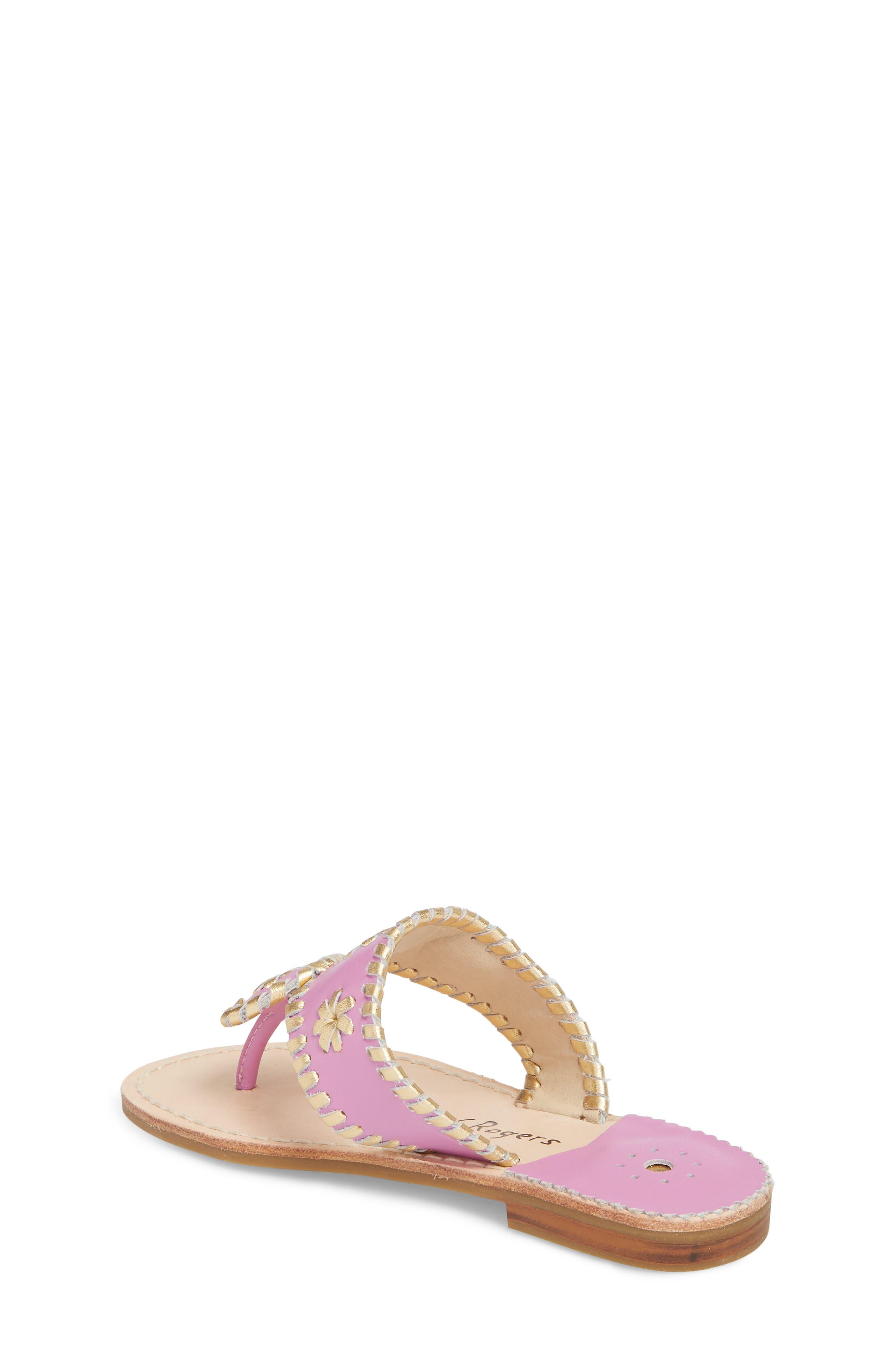 Miss Hollis Metallic Trim Thong Sandal,                             Alternate thumbnail 2, color,                             Lavender Pink/ Gold Leather