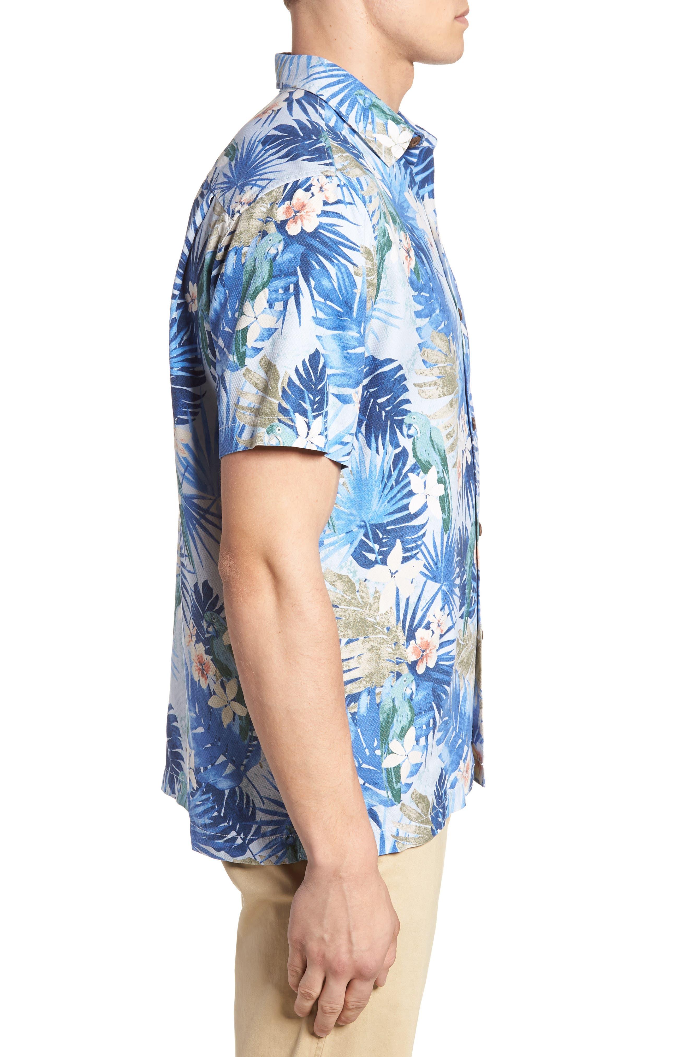 Marino Paradise Silk Camp Shirt,                             Alternate thumbnail 4, color,                             Sky Blue