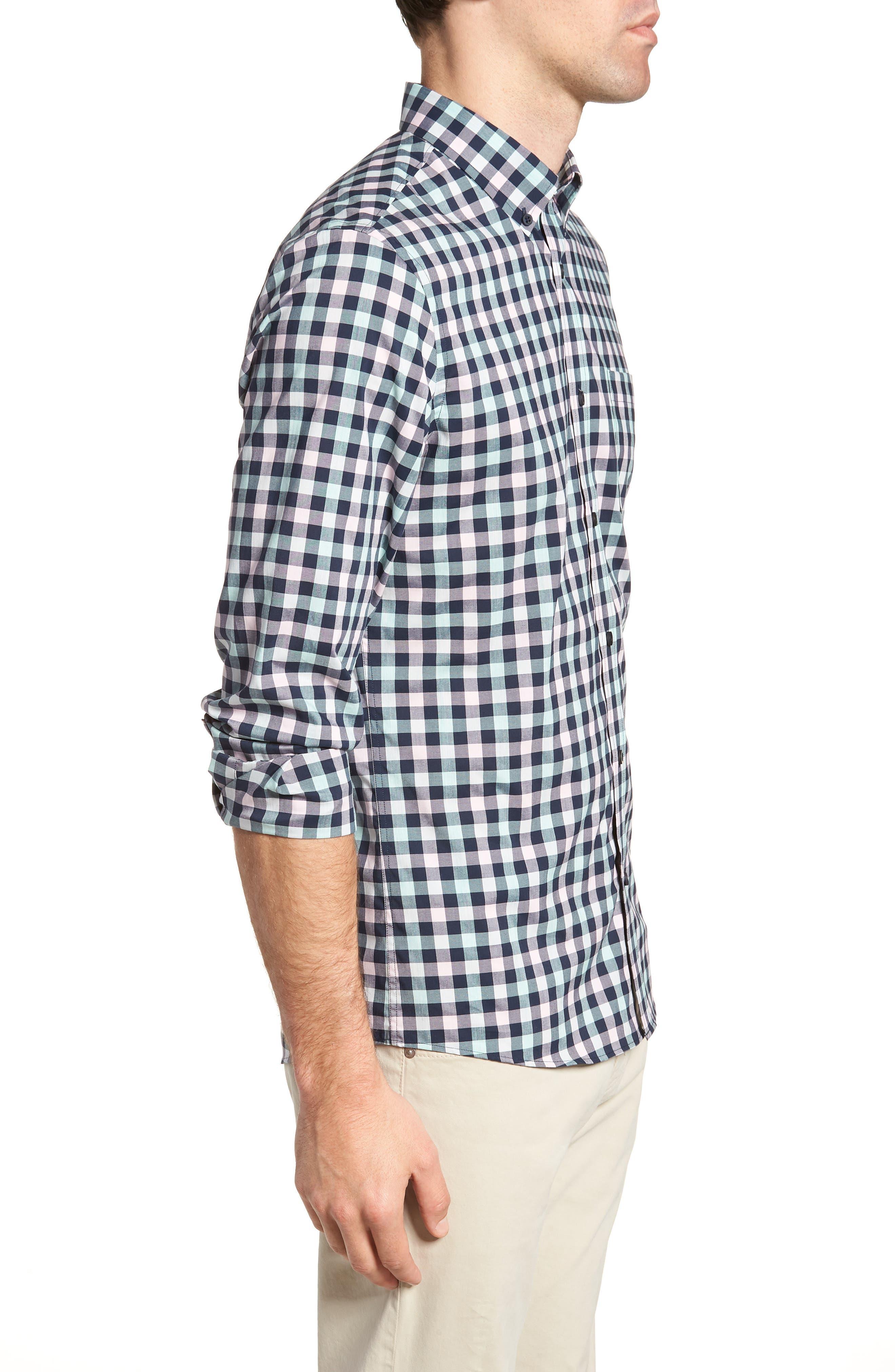 Tech-Smart Trim Fit Check Sport Shirt,                             Alternate thumbnail 4, color,                             Navy Iris Teal Check