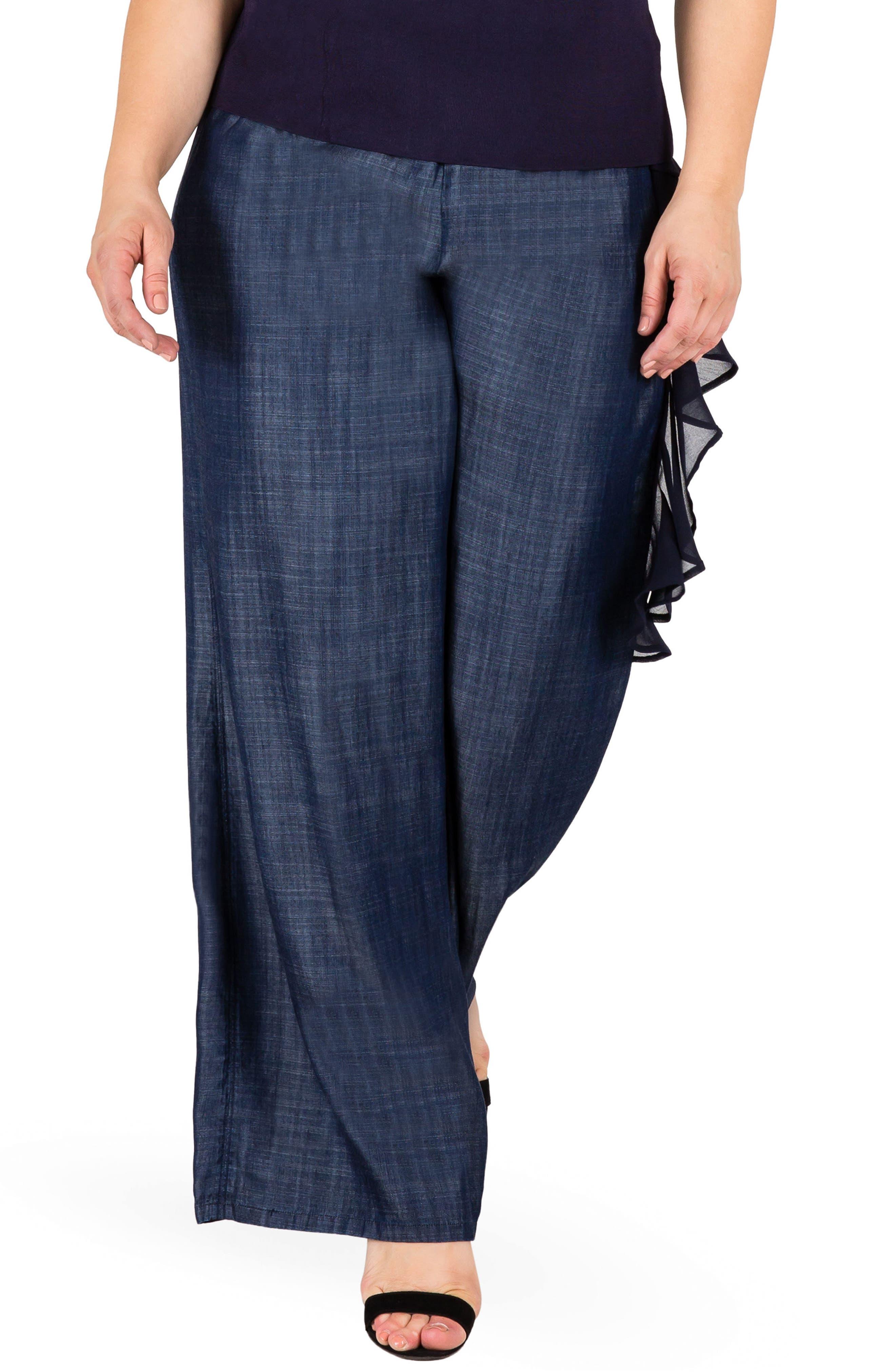 Olga Wide Leg Denim Pants,                         Main,                         color, Indigo
