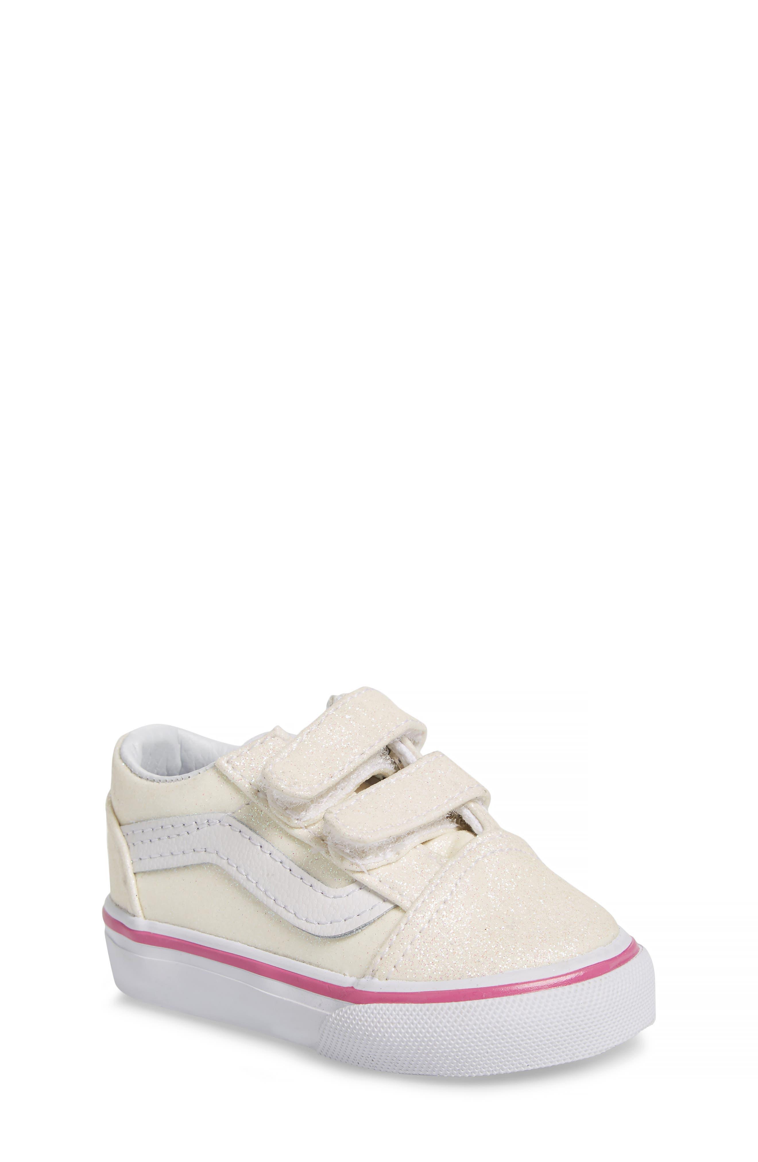 Old Skool V Glitter Sneaker,                             Main thumbnail 1, color,                             Rainbow White Glitter