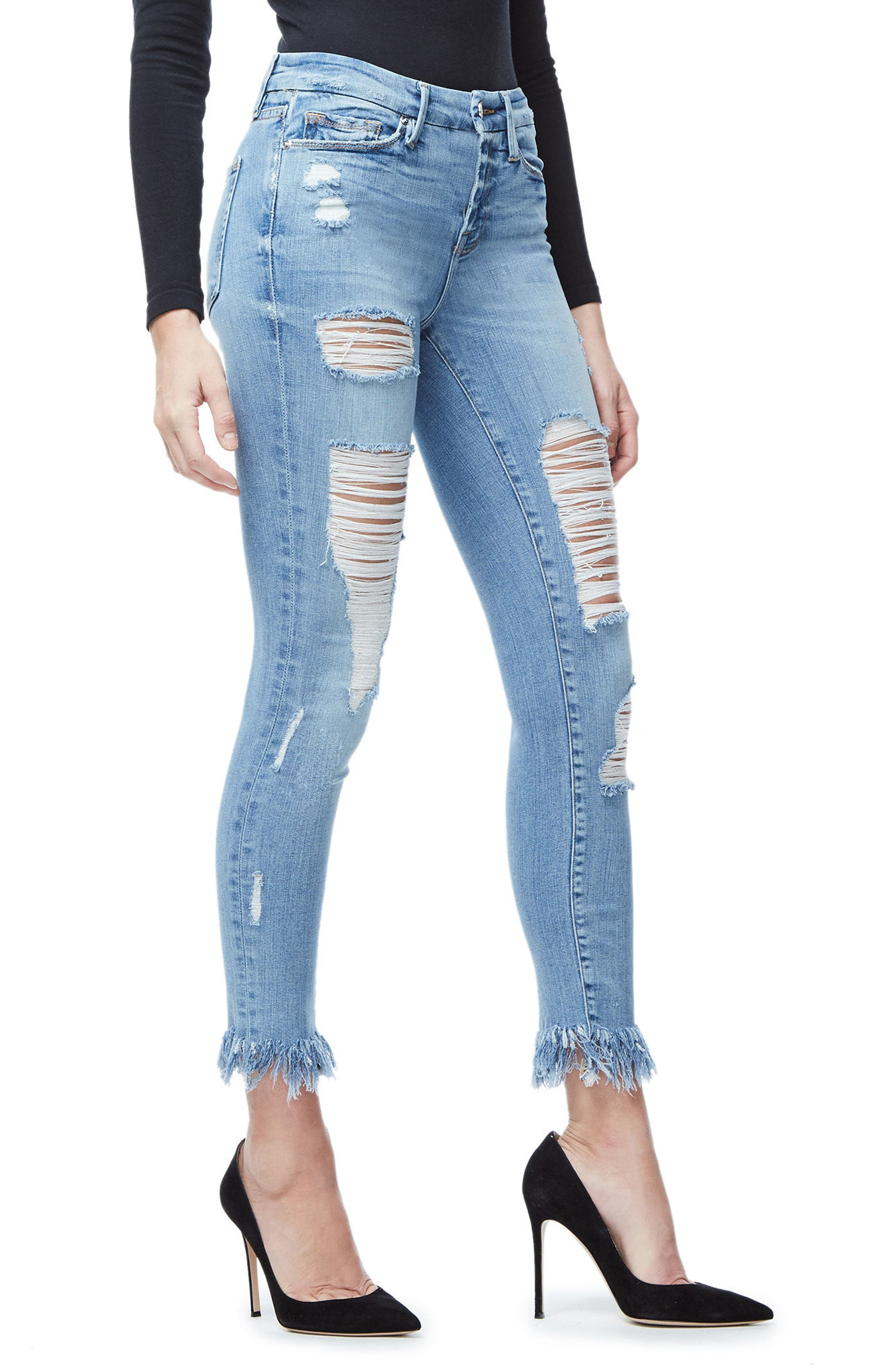 Good Legs Fray Ankle Skinny Jeans,                             Alternate thumbnail 3, color,                             Blue018