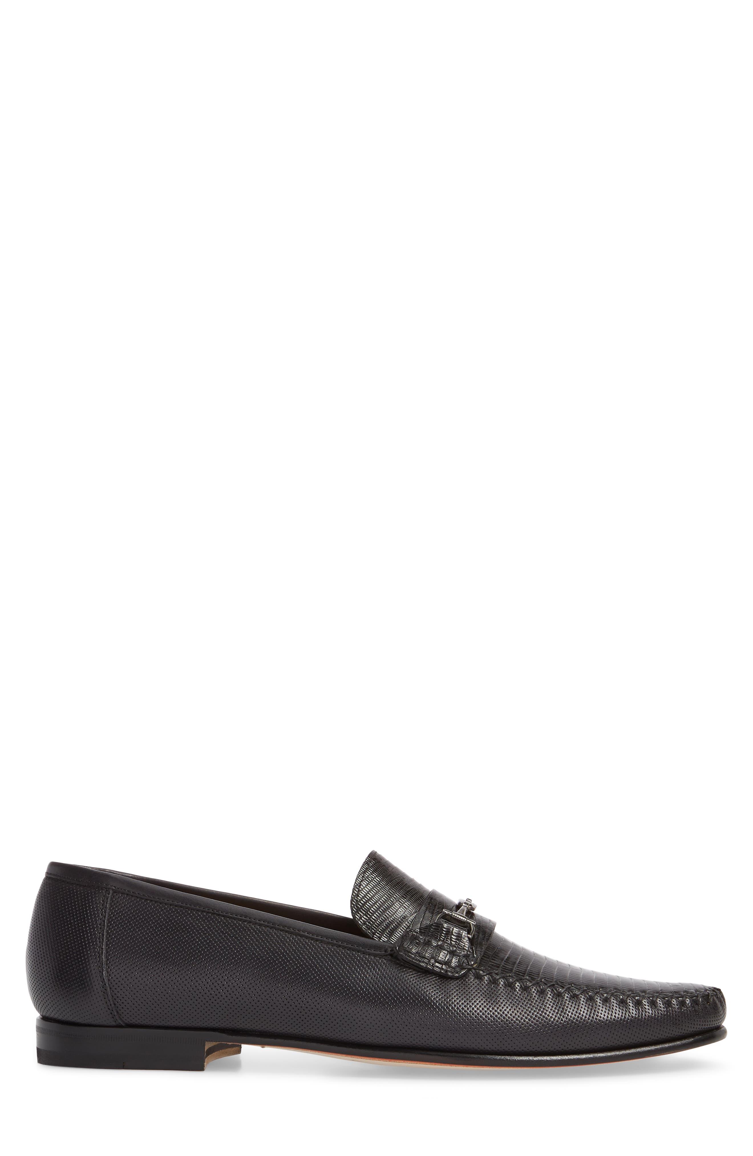 Sileno Lizard Loafer,                             Alternate thumbnail 3, color,                             Black Leather