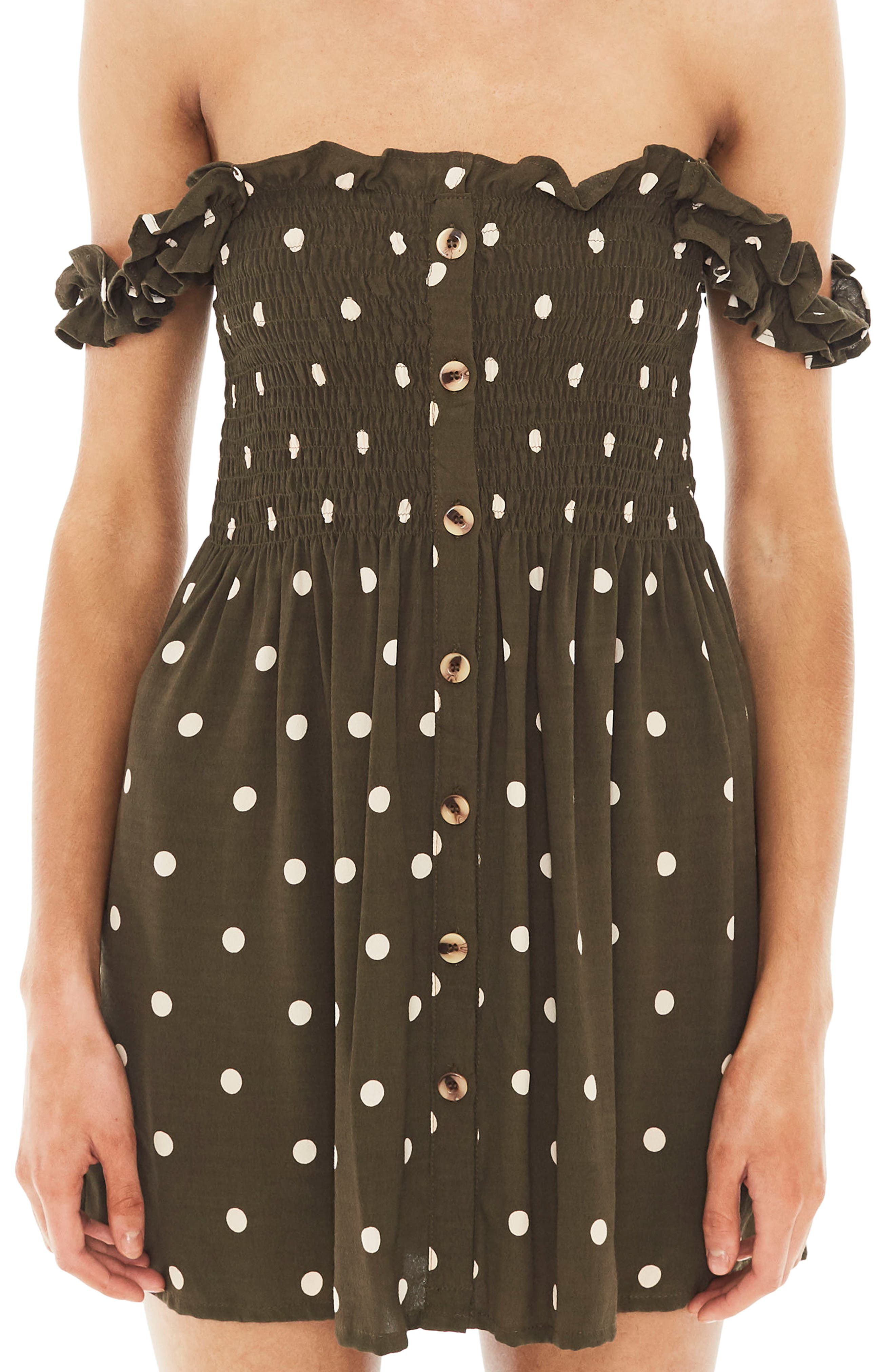 Mika Polka Dot Off the Shoulder Dress,                             Alternate thumbnail 4, color,                             Ronja Dot Print