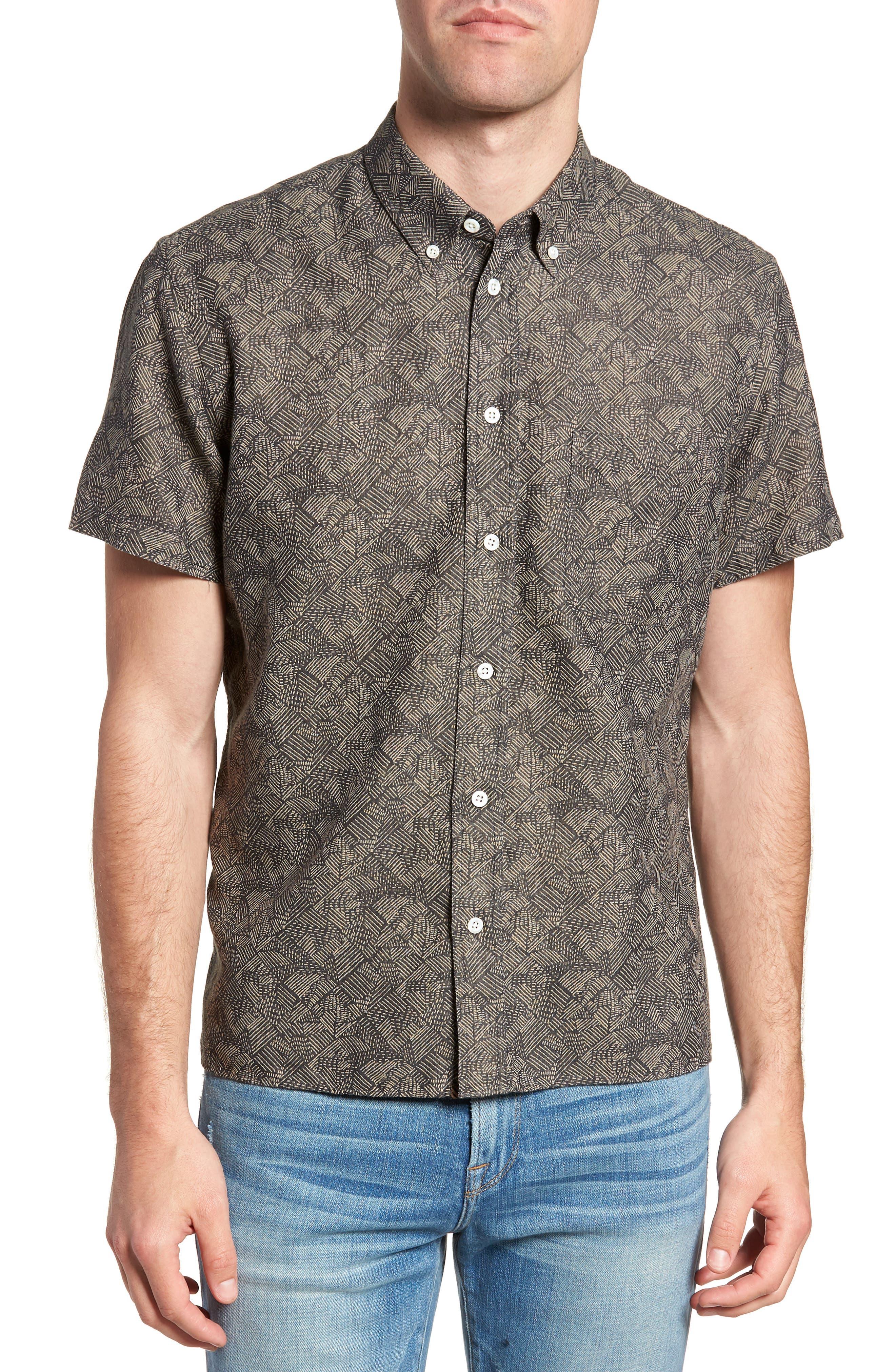 Leo Standard Fit Short Sleeve Sport Shirt,                             Main thumbnail 1, color,                             Slate Field Line