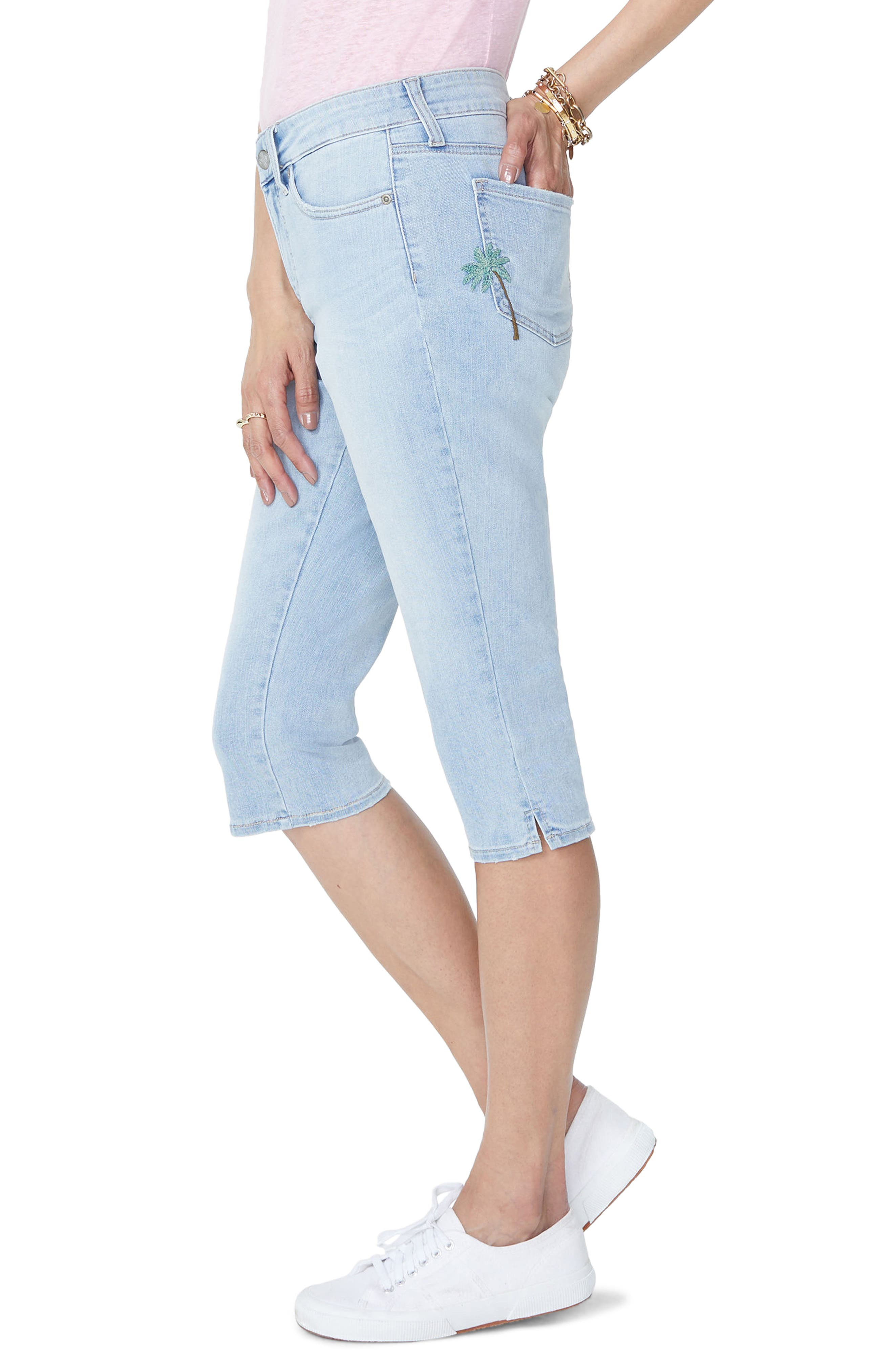 Embroidered Stretch Skinny Capri Jeans,                             Alternate thumbnail 4, color,                             Clean Cloud Nine