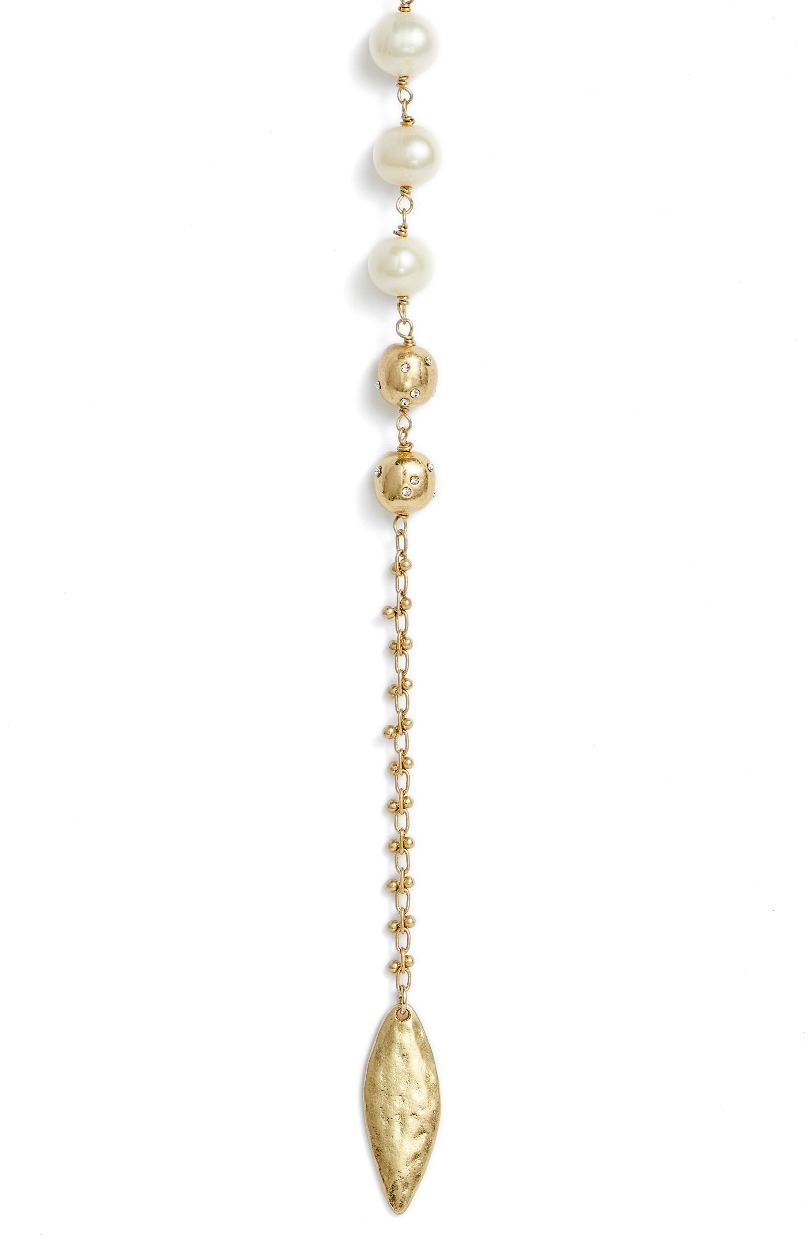 Freshwater Pearl Y-Shape Necklace,                             Alternate thumbnail 2, color,                             White- Gold