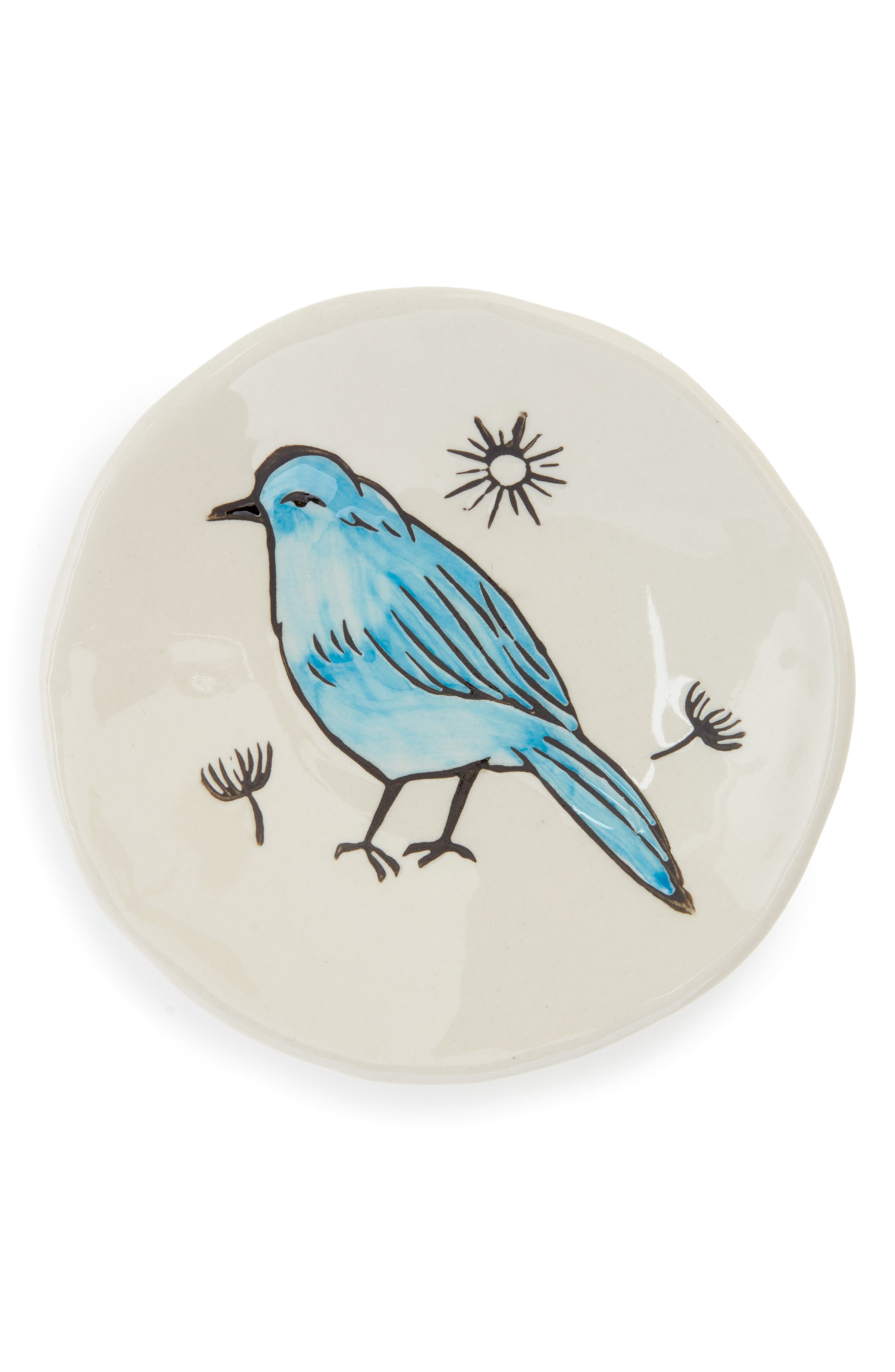Small Bird Plate,                             Main thumbnail 1, color,                             White