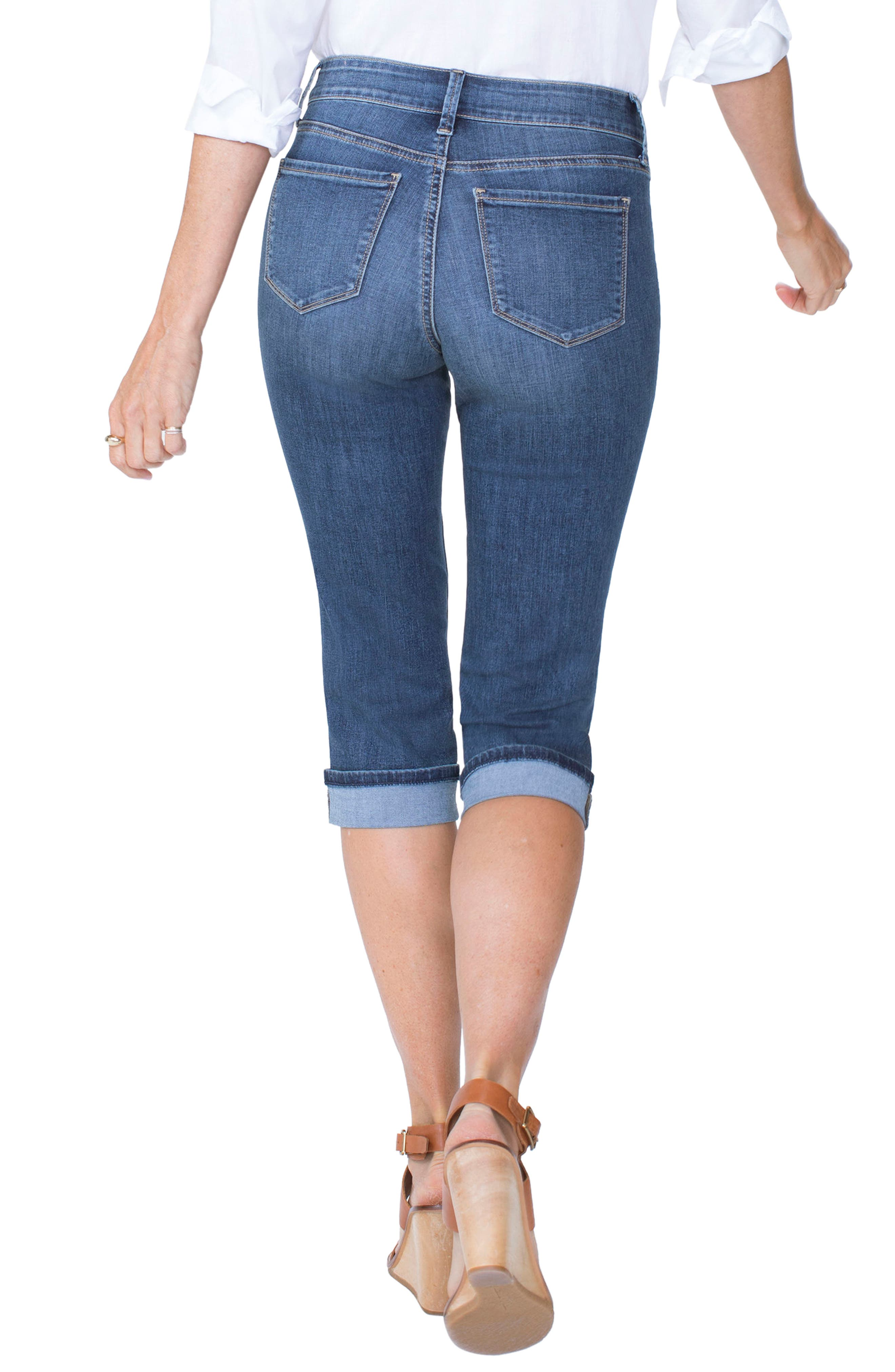 Marilyn Cuffed Stretch Crop Jeans,                             Alternate thumbnail 2, color,                             Zimbali