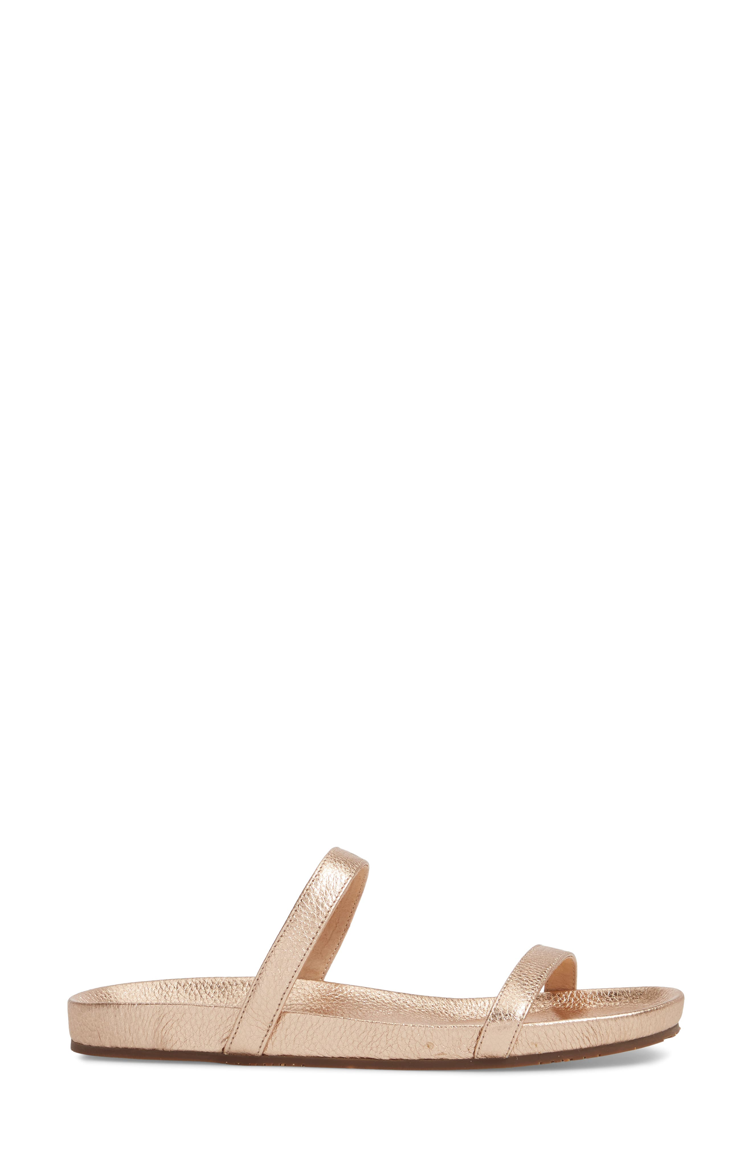Yale Two-Strap Sandal,                             Alternate thumbnail 3, color,                             Rose Gold Leather