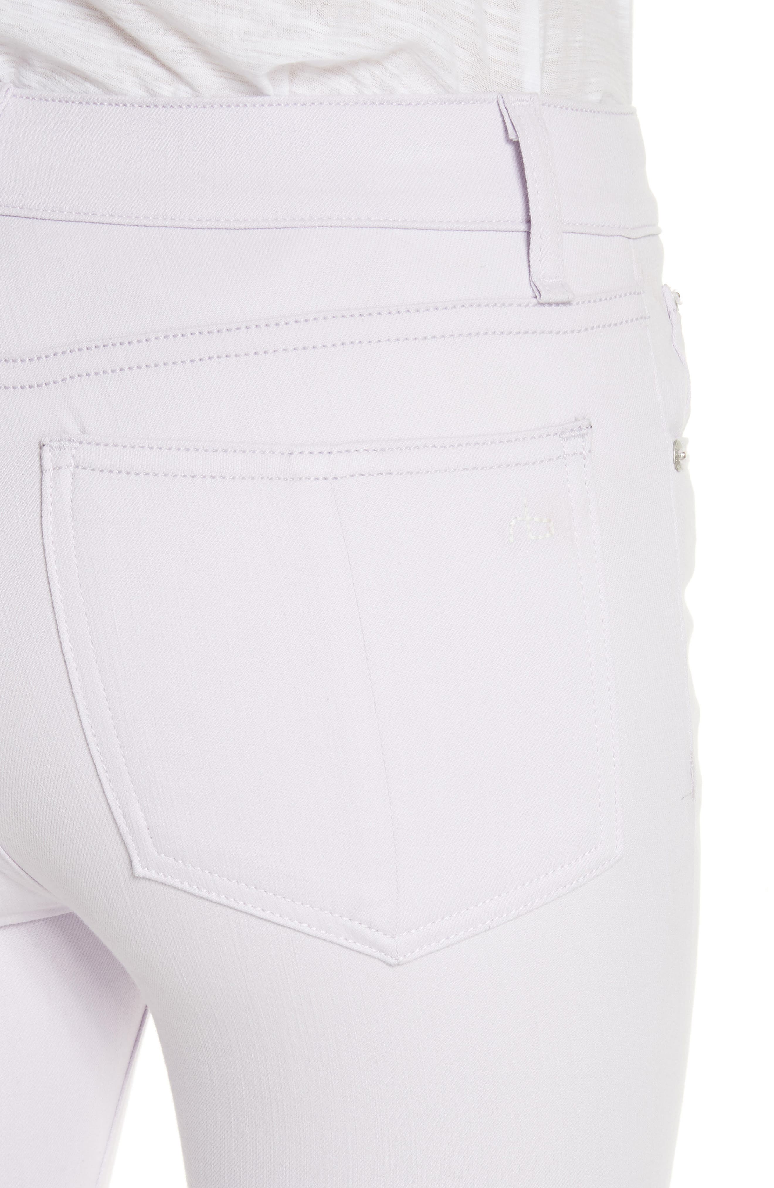 High Waist Ankle Skinny Jeans,                             Alternate thumbnail 4, color,                             Lilac