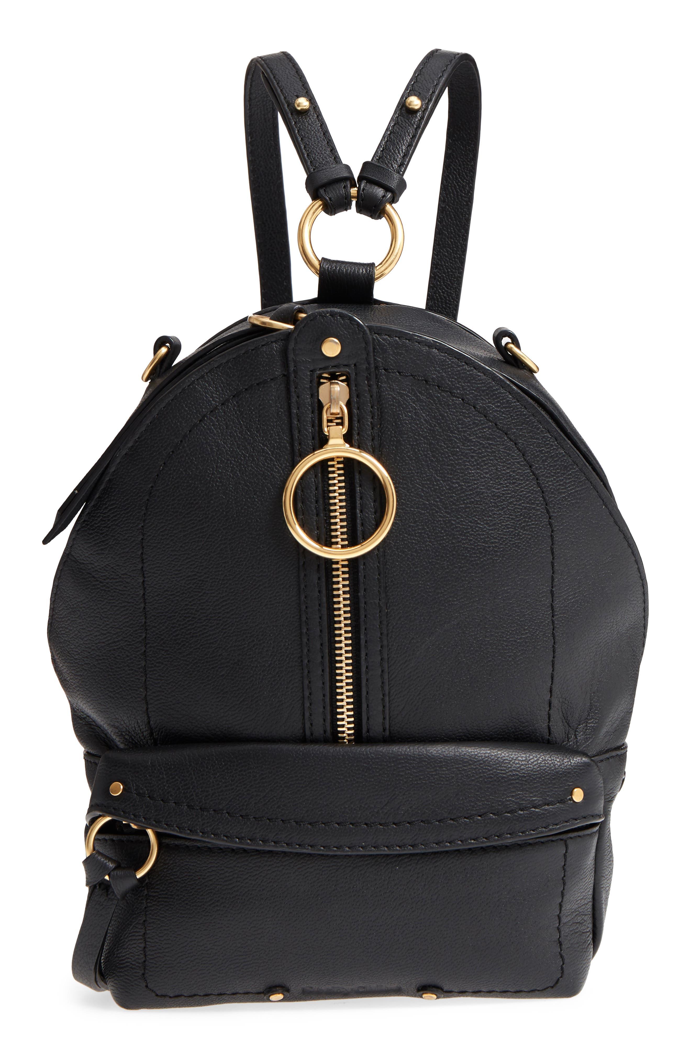 Mini Mino Leather Backpack,                             Main thumbnail 1, color,                             Black