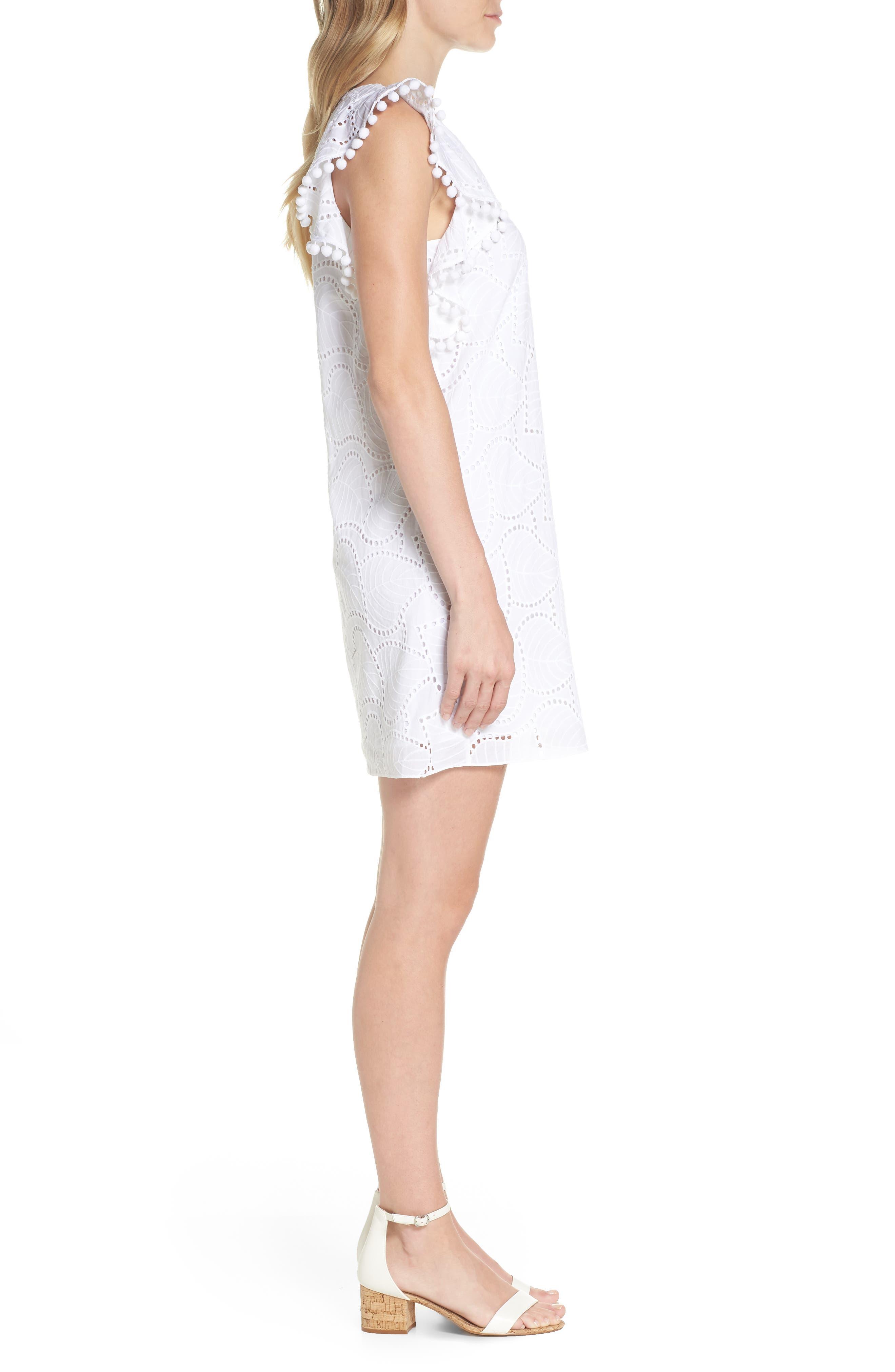 Astara Cotton Eyelet Dress,                             Alternate thumbnail 3, color,                             Resort White Leaf Eyelet