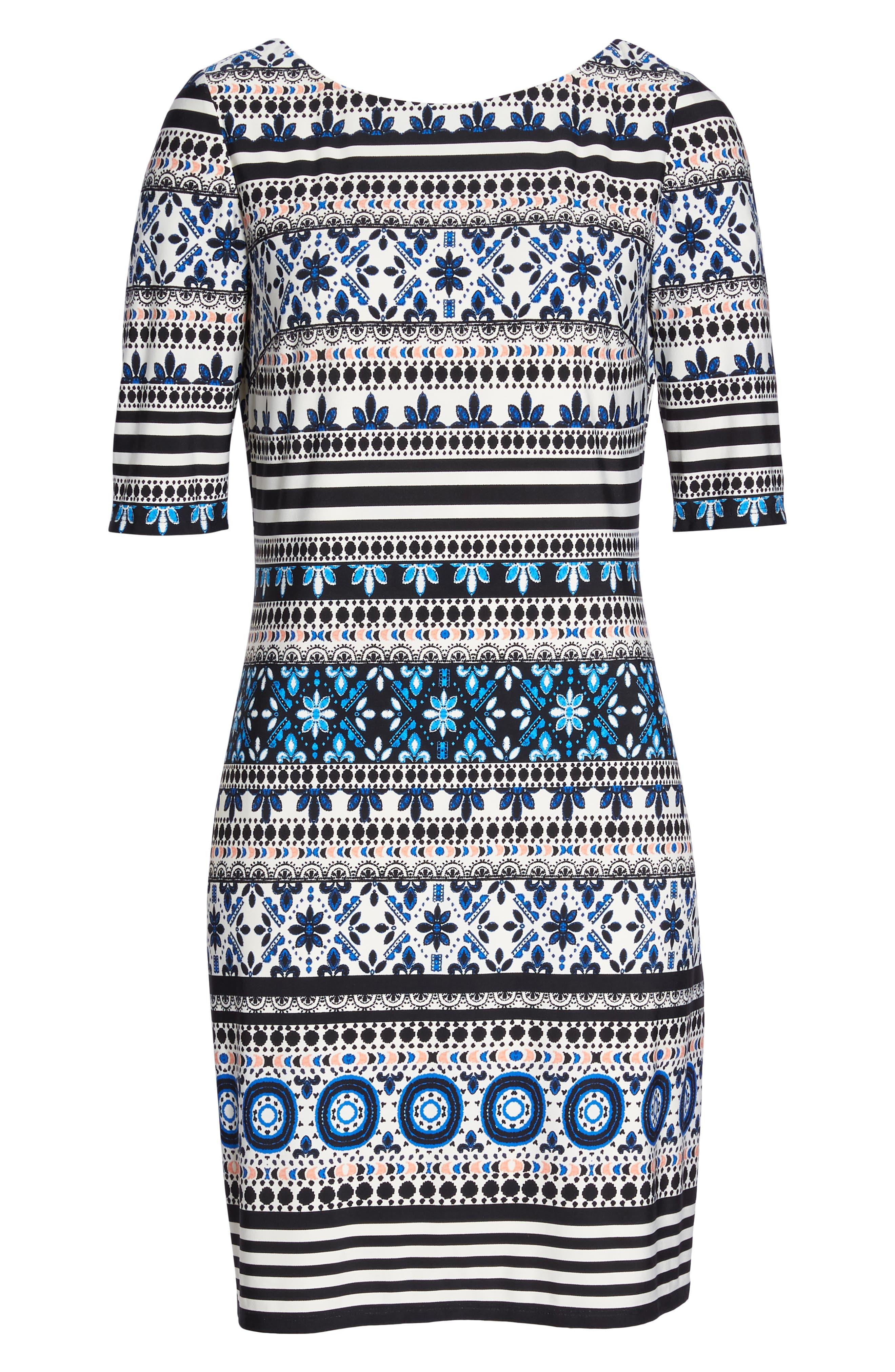 Medallion Stripe Shift Dress,                             Alternate thumbnail 7, color,                             Black/ Blue/ Ivory