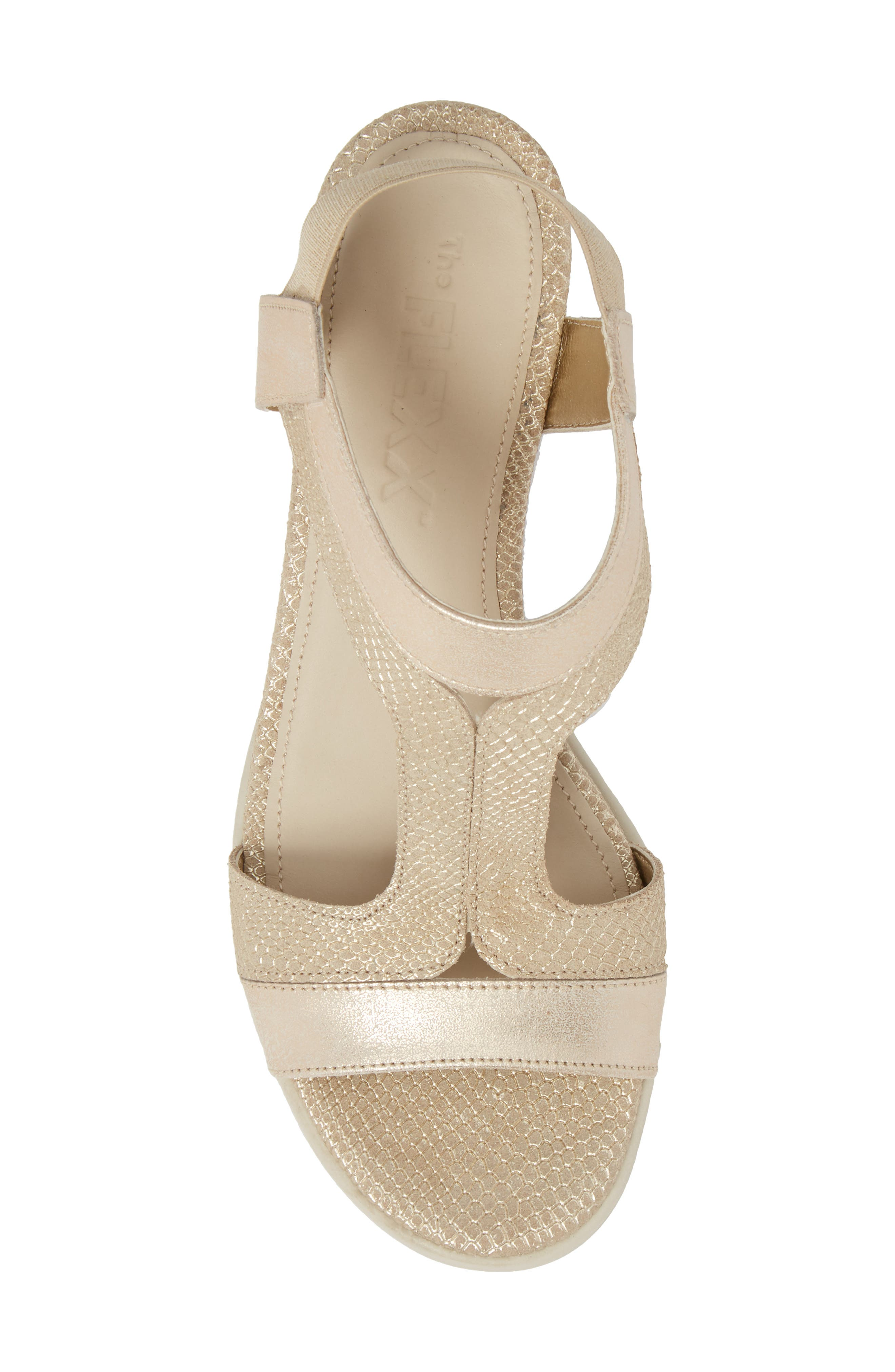 Give A Hoot Wedge Sandal,                             Alternate thumbnail 5, color,                             Gold Leather