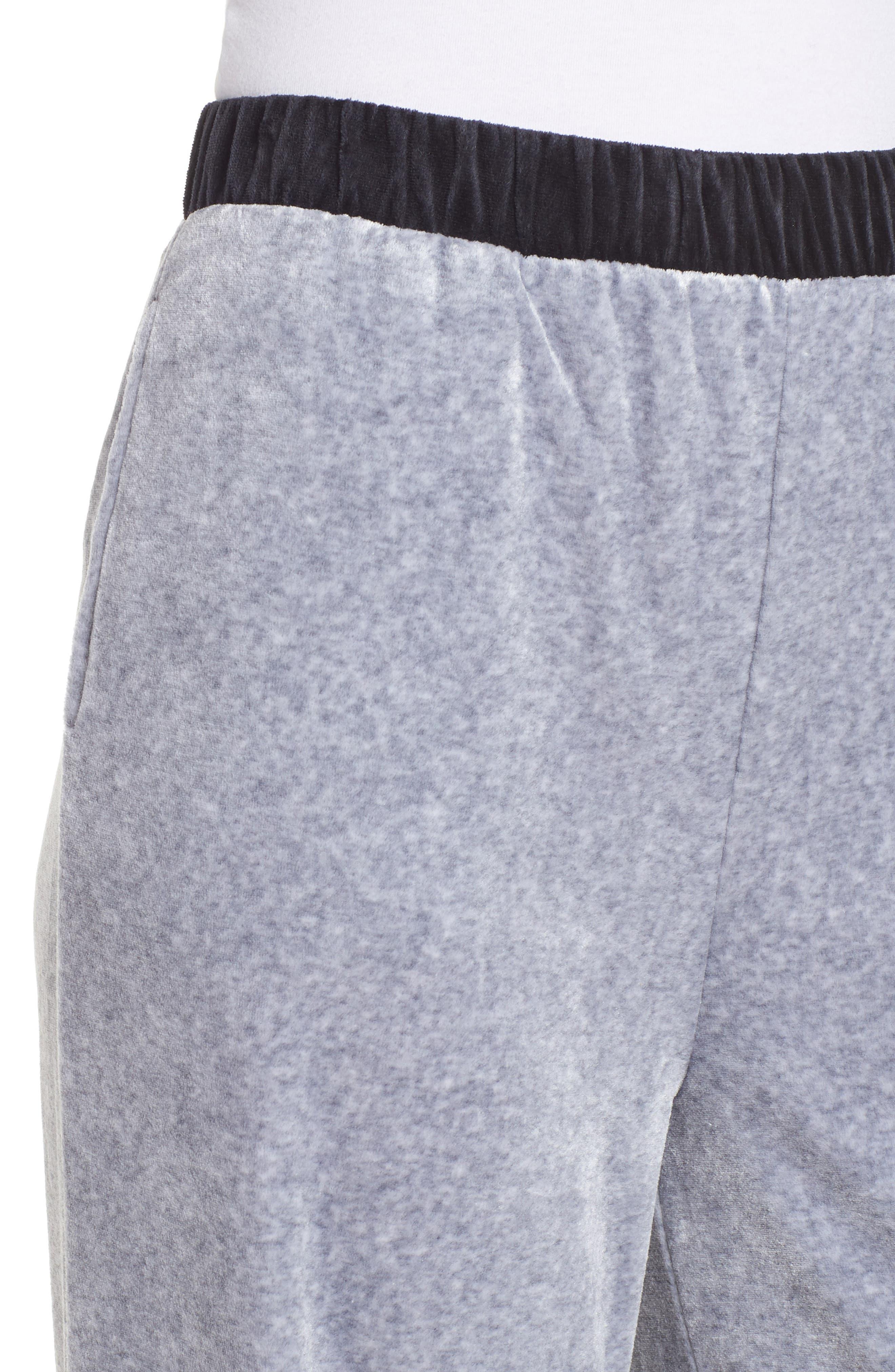 Colorblock Velour Wide Leg Pants,                             Alternate thumbnail 4, color,                             Silver Lining Angel Combo