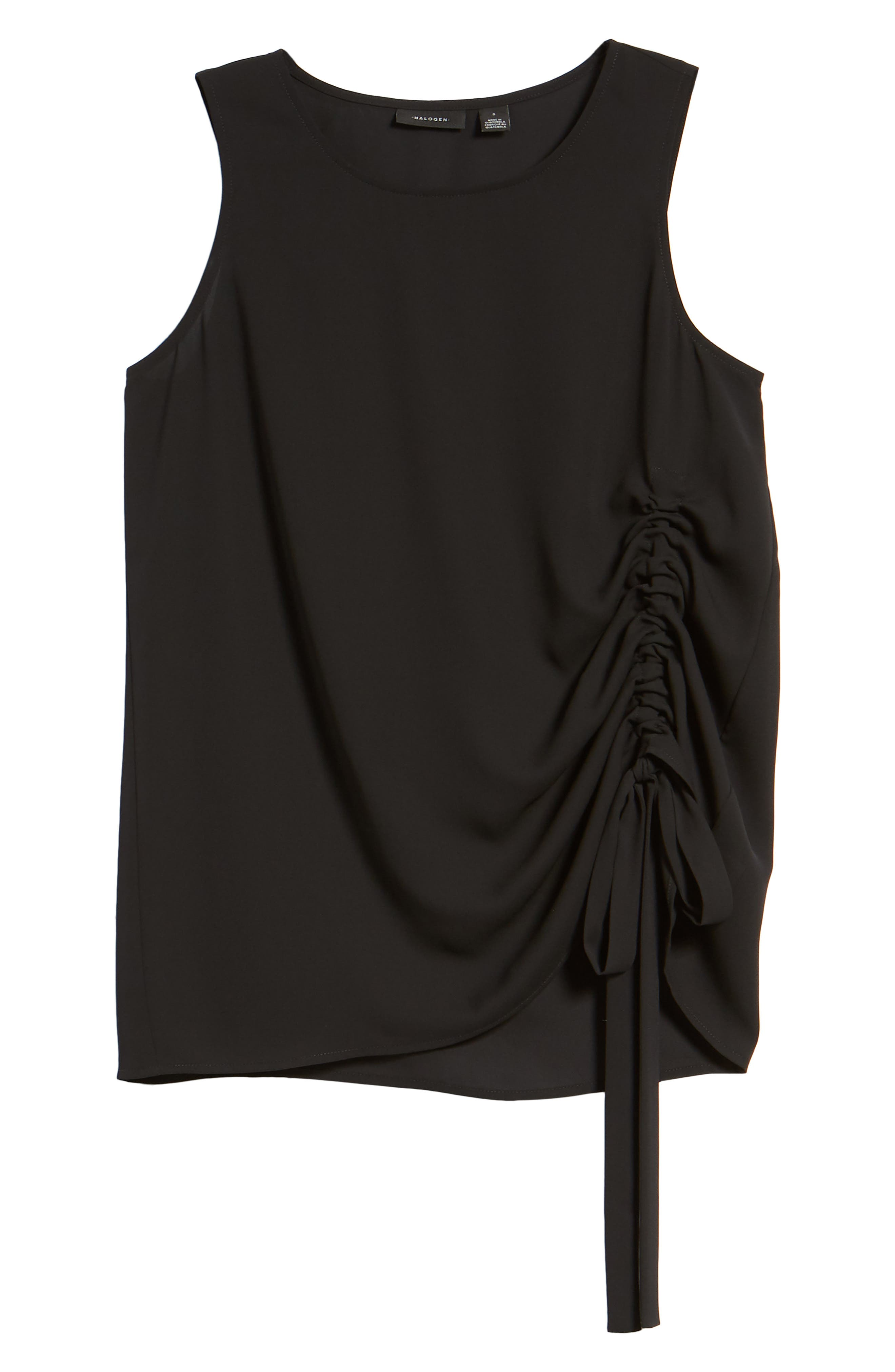 Side Ruched Top,                             Alternate thumbnail 7, color,                             Black