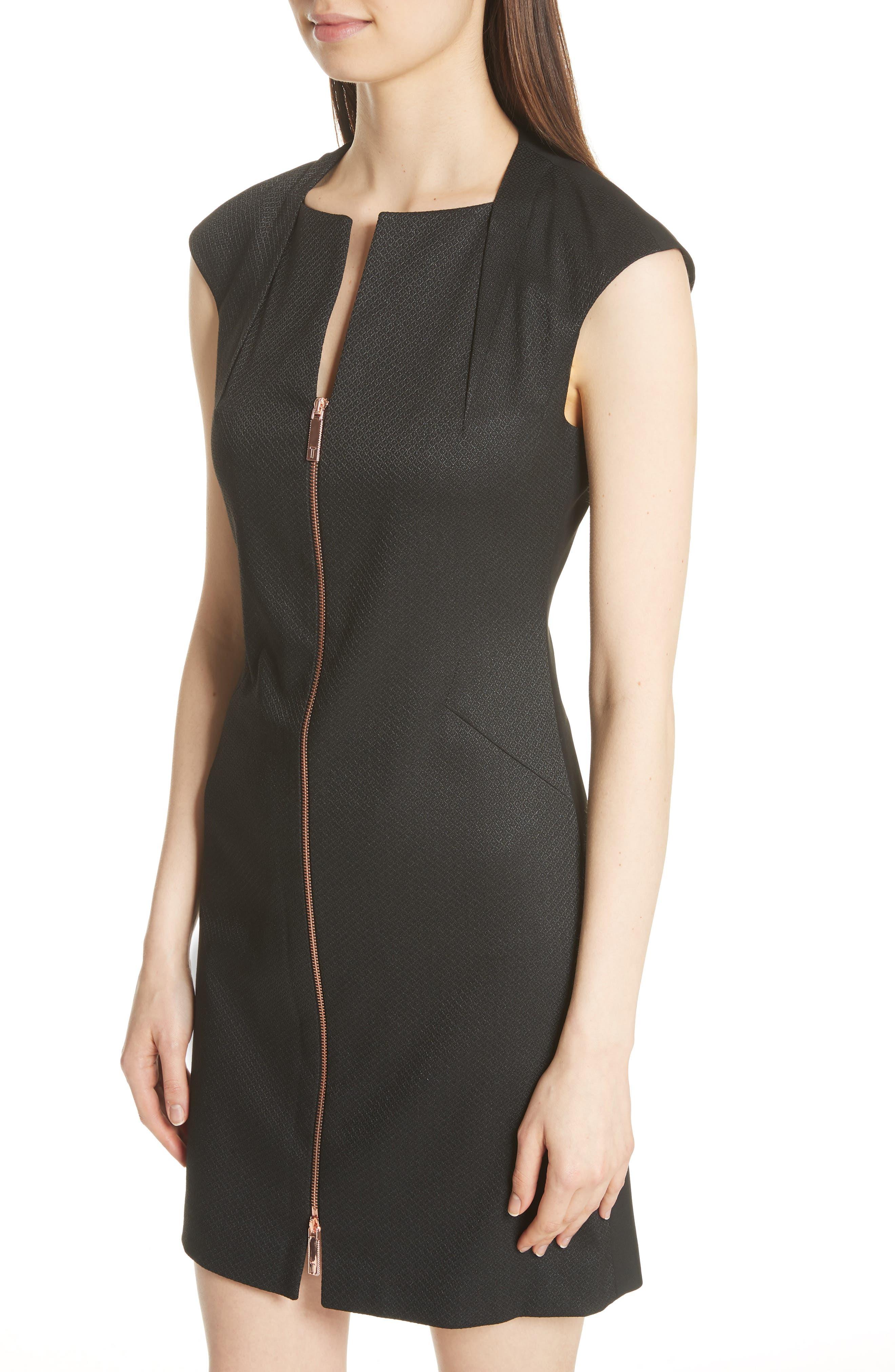 Zip Front A-Line Dress,                             Alternate thumbnail 4, color,                             Black
